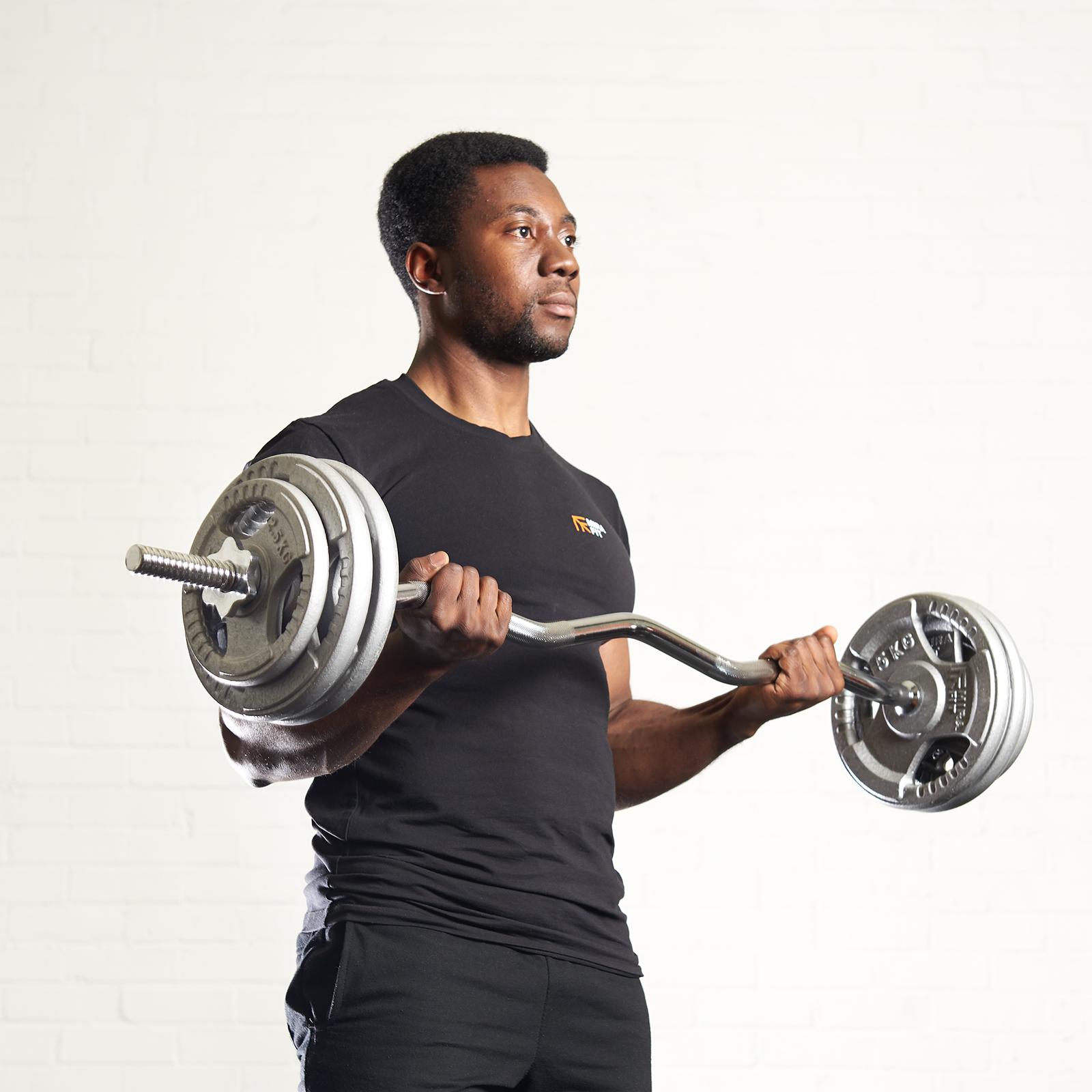 "Mirafit 1/"" Standard EZ Arm Curl Bar /& Spring Collars Weight Lifting Gym Barbell"