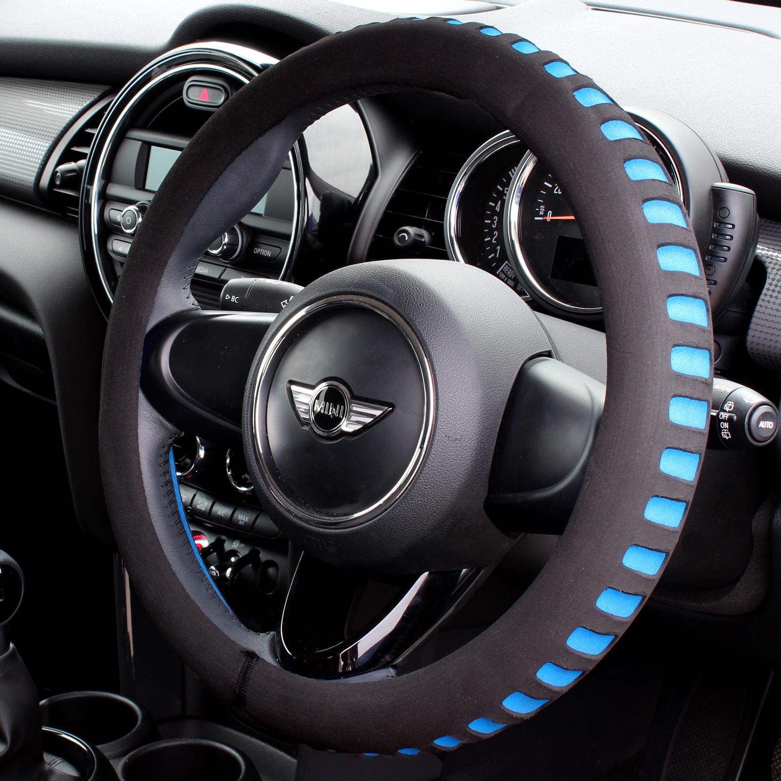 BLUE & BLACK COMFY FOAM CAR STEERING WHEEL COVER/GLOVE ...