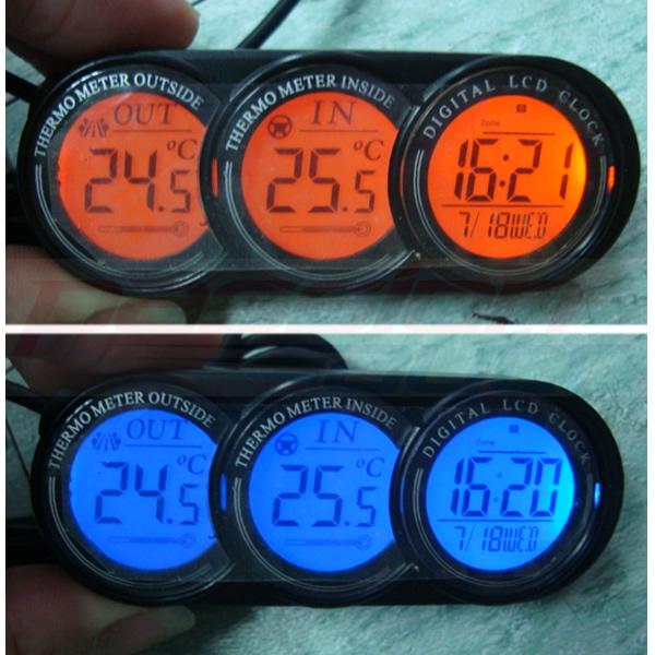 12v lcd digital in car thermometer clock calendar inside outside temperature ebay. Black Bedroom Furniture Sets. Home Design Ideas