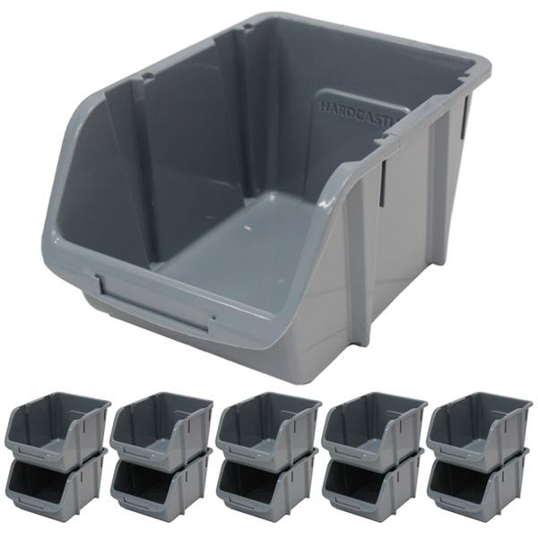10 X Large Grey Plastic Stacking Storage Bins Garageworkshop