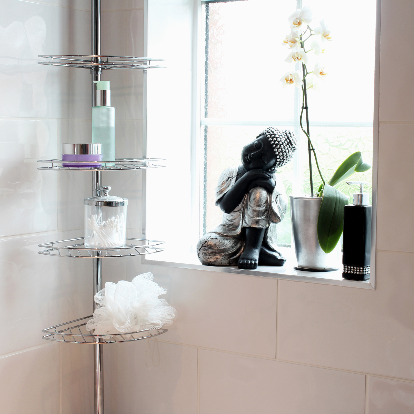 METAL CORNER SHOWER/BATHROOM TIDY BASKET CADDY/SHELF STORAGE SHELVES ...