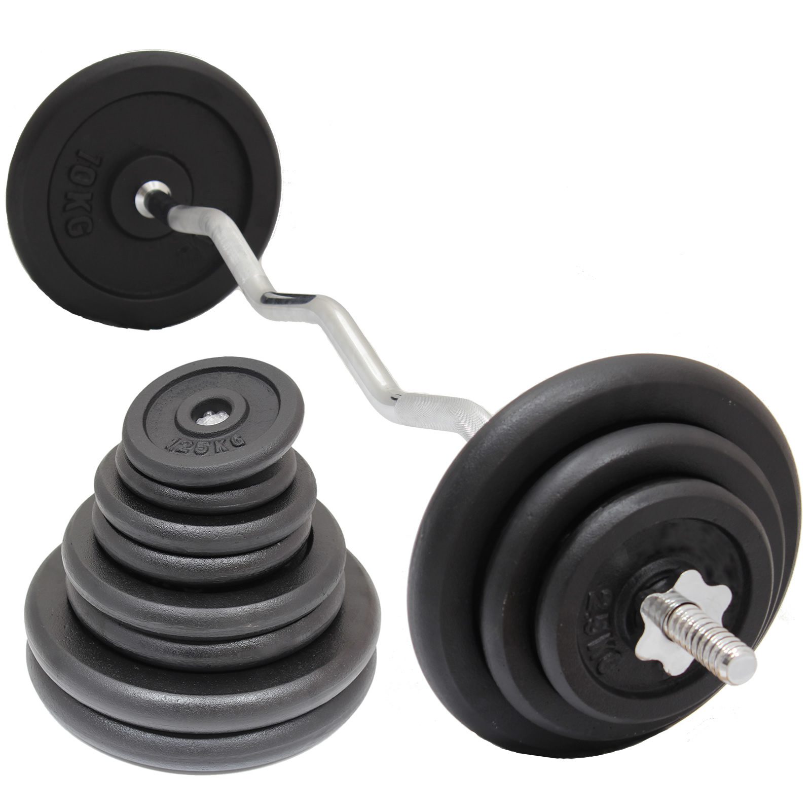 Sentinel Heavy Duty Cast Iron Gym Weights Bar Set Ez Easy Arm Bicep Curl