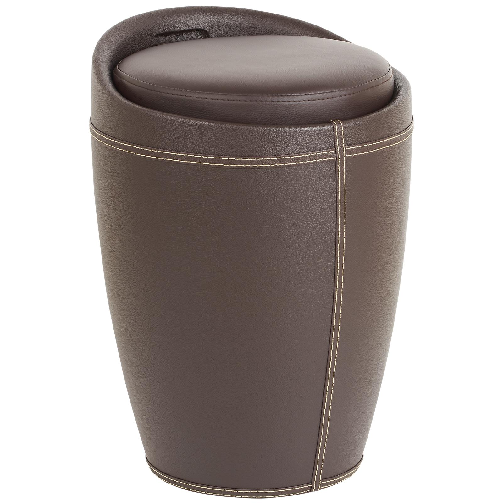 Faux Leather Hidden Storage Ottoman Stool Box Tub Barrel