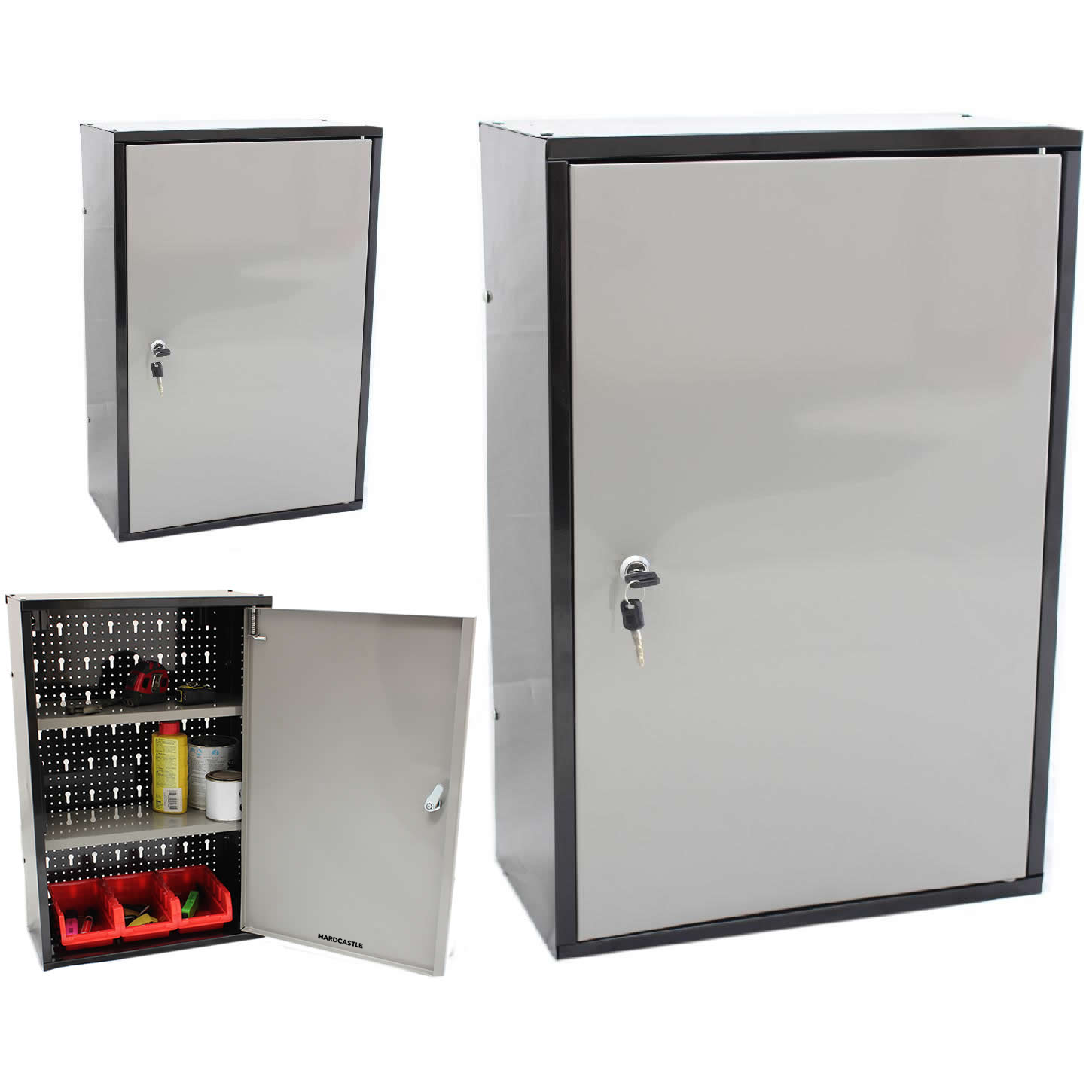 LOCKABLE METAL GARAGE/SHED STORAGE CABINET WALL UNIT TOOL/PAINT ...