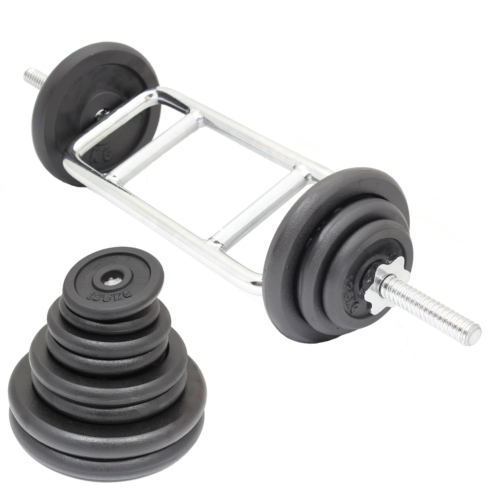 Sentinel Tricep Bicep 1 Weight Barbell Bar Cast Iron Weights Set Gym Lifting