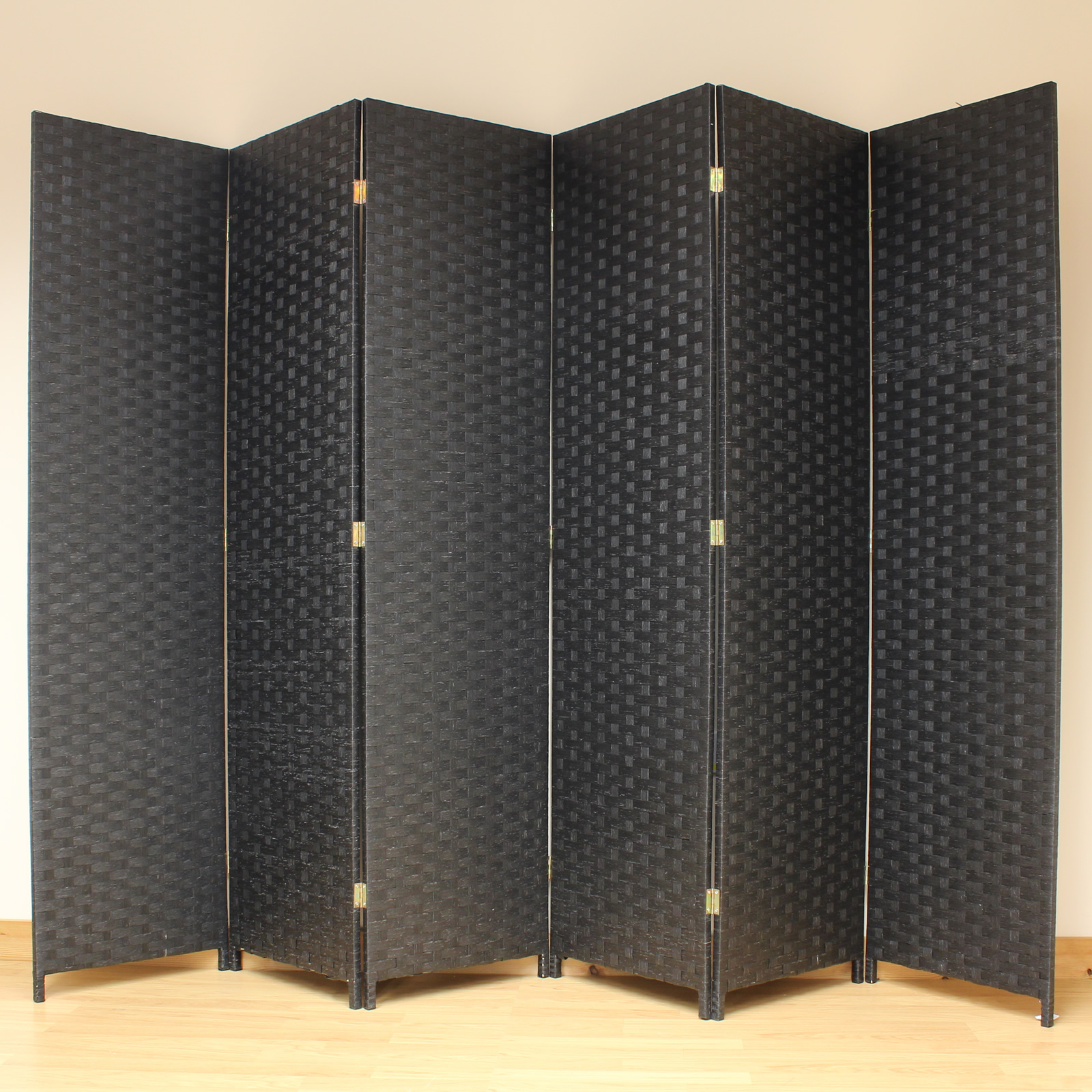 black 6 panel solid style wicker room divider hand made. Black Bedroom Furniture Sets. Home Design Ideas