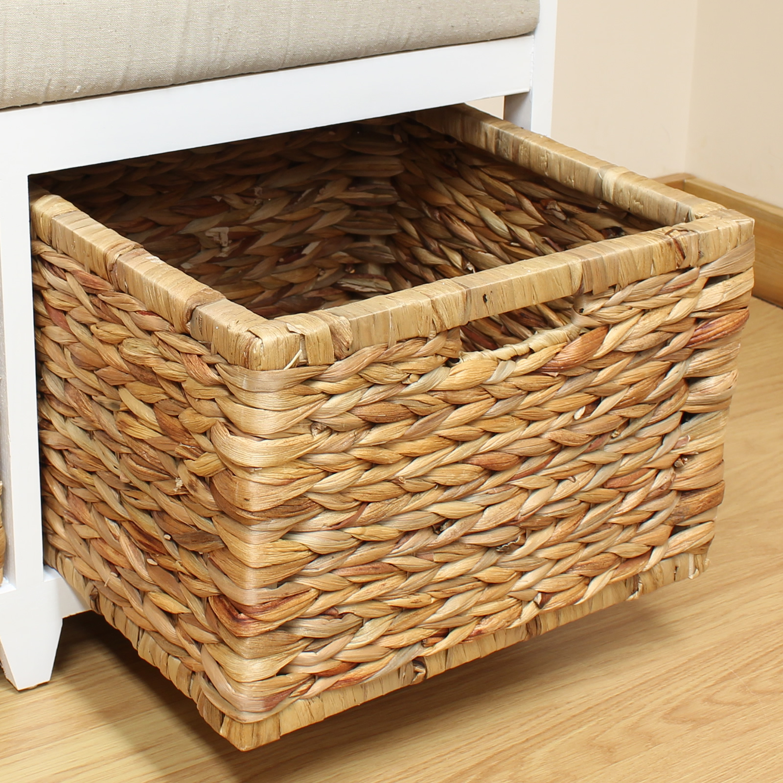 Storage Bench Cushion Seat Amp Seagrass Wicker Baskets