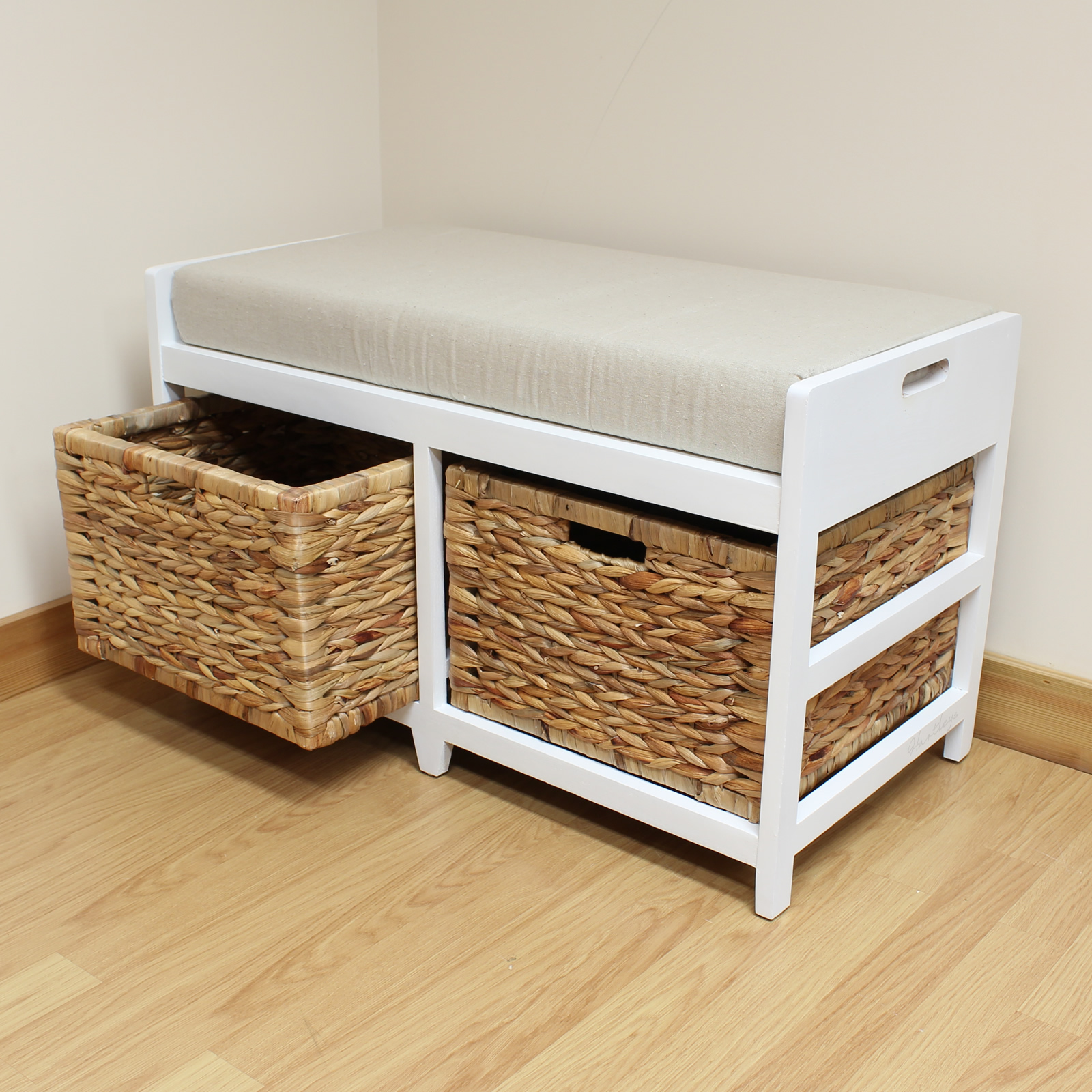 Storage bench cushion seat seagrass wicker baskets bathroom bedroom hallway Storage bench cushion