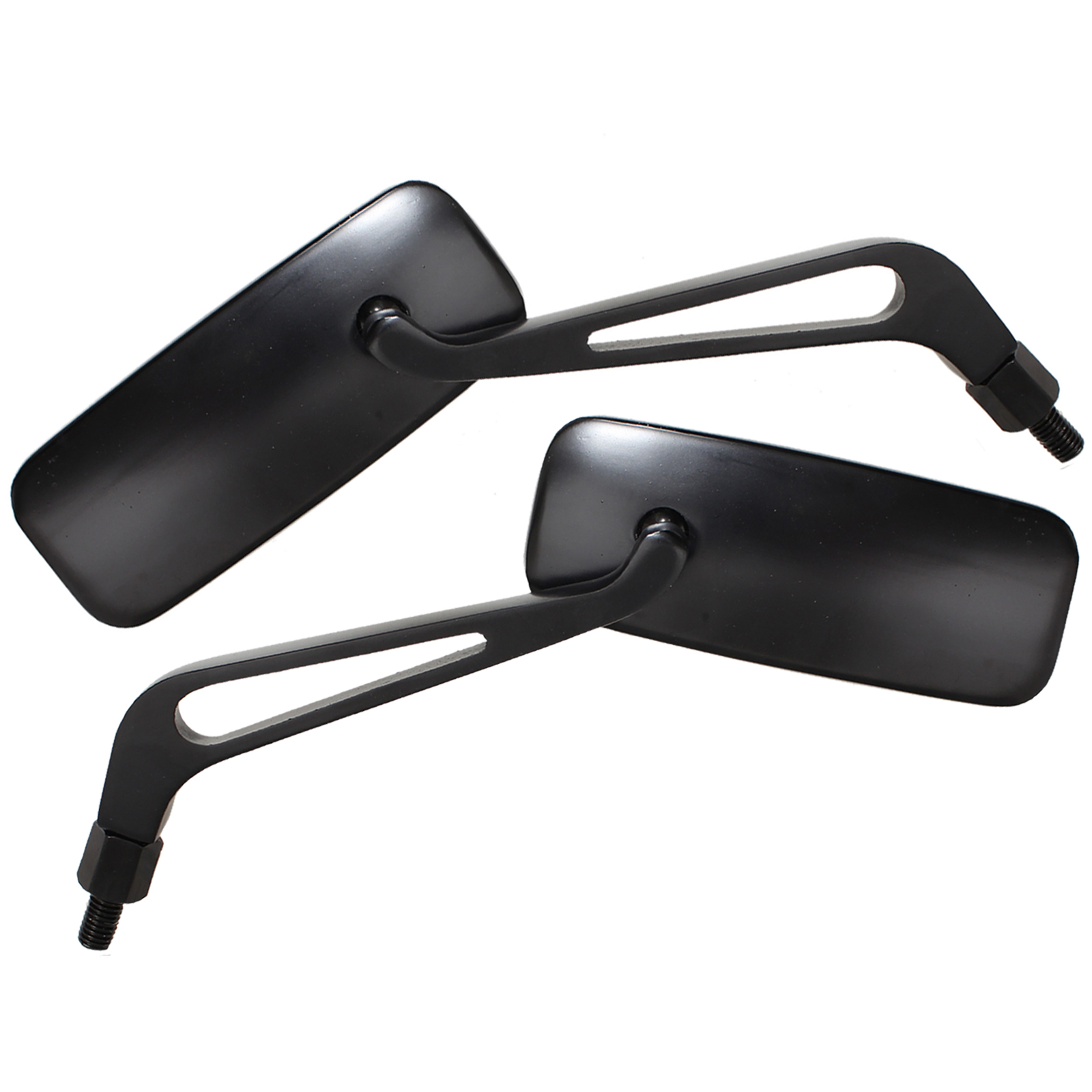 Ryde Black 10mm 8mm Rectangle Universal Motorcycle Mirrors