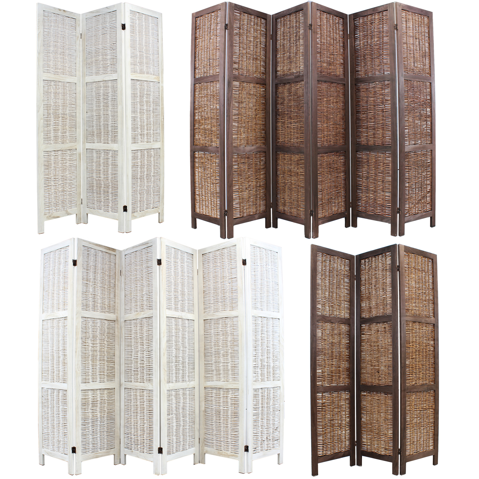 Wooden Framed Wicker Room Divider Privacy Screen Partition