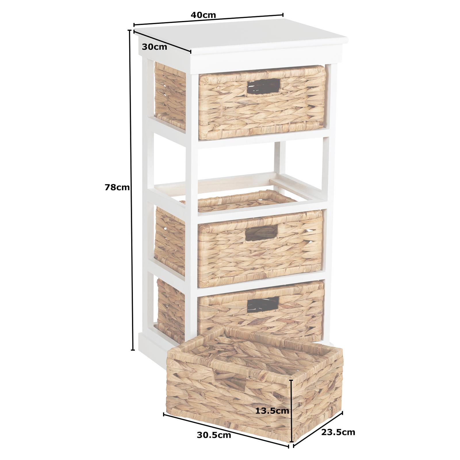 Hartleys Large White 4 Basket Chest Home Storage Unit