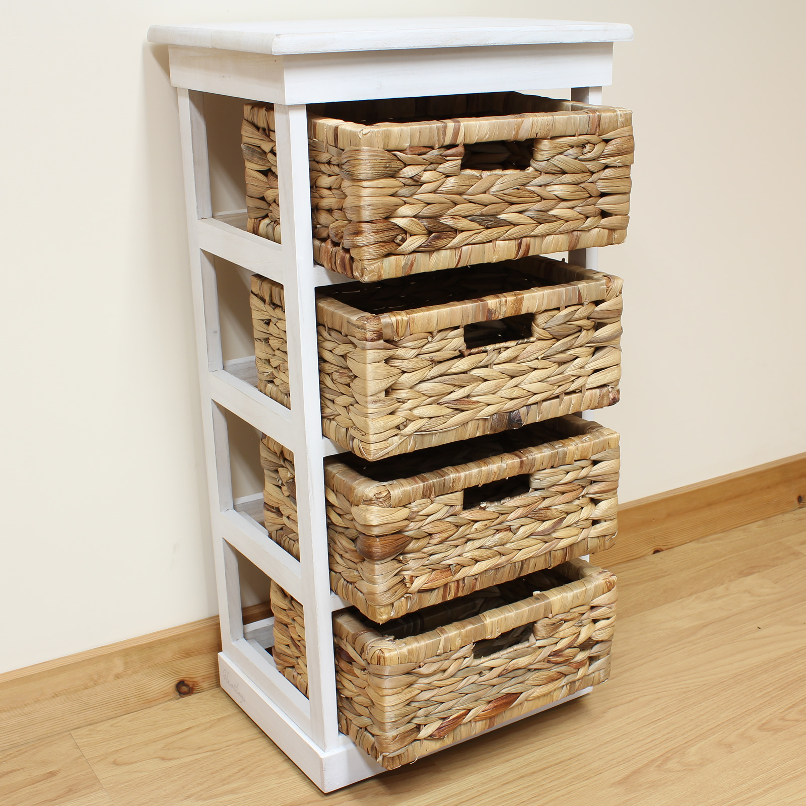 hartleys large white 4 basket chest home storage unit. Black Bedroom Furniture Sets. Home Design Ideas