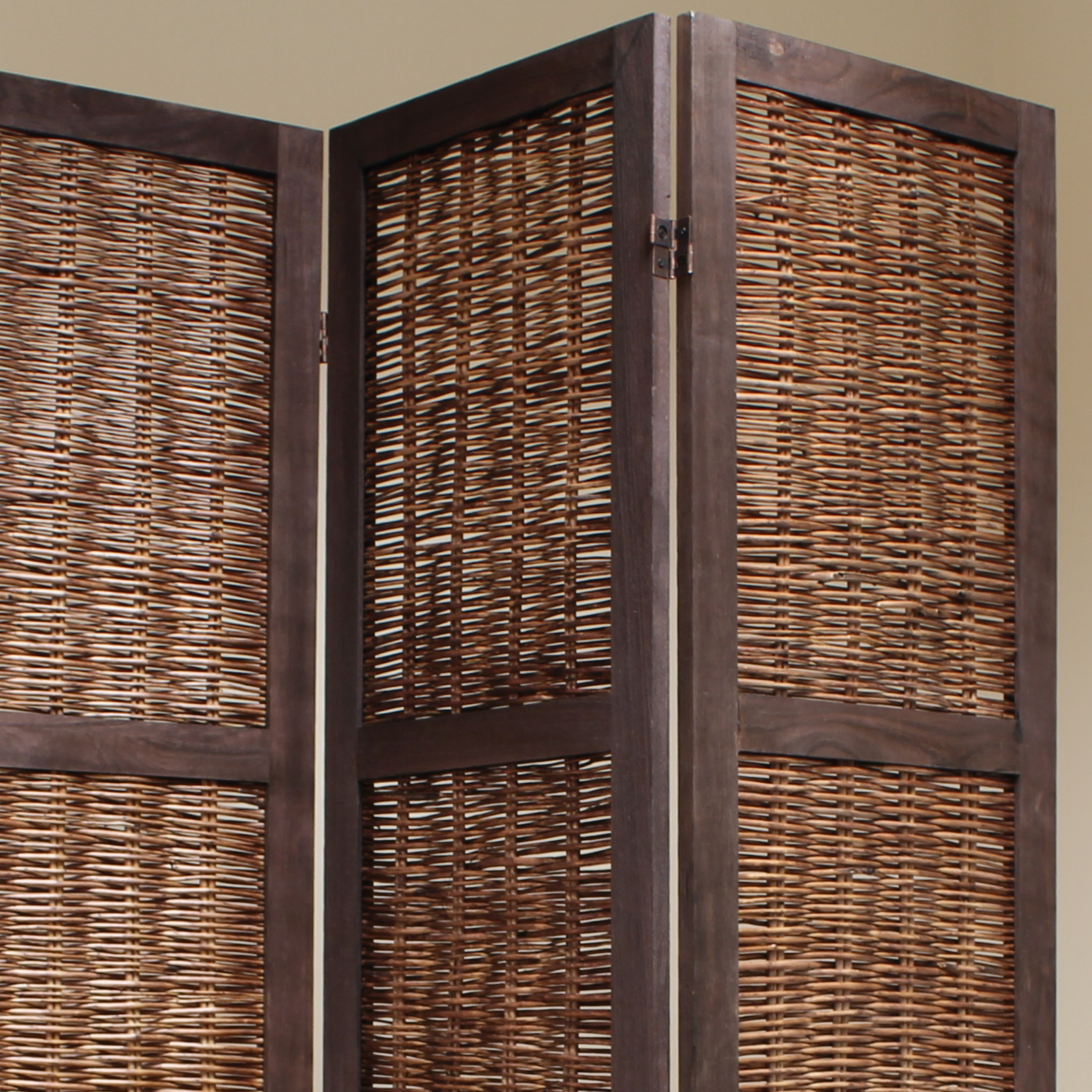 Brown 6 Panel Wood Frame Wicker Room Divider Privacy Screen//Separator//Partition
