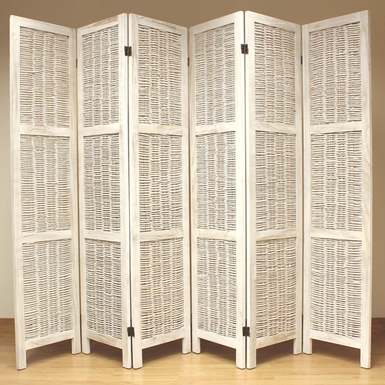 Cream 6 Panel Wood Frame Wicker Room Divider Privacy Screen ...