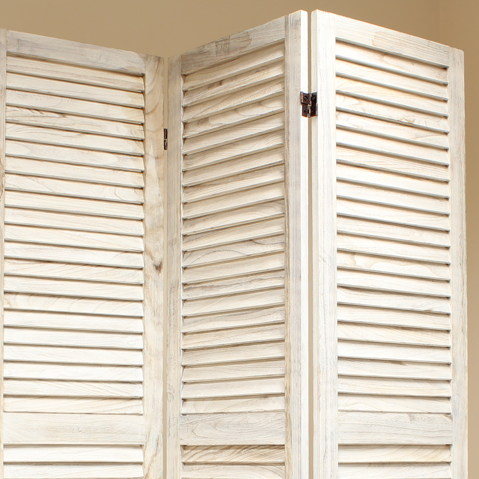 Cream panel wooden slat room divider home privacy screen