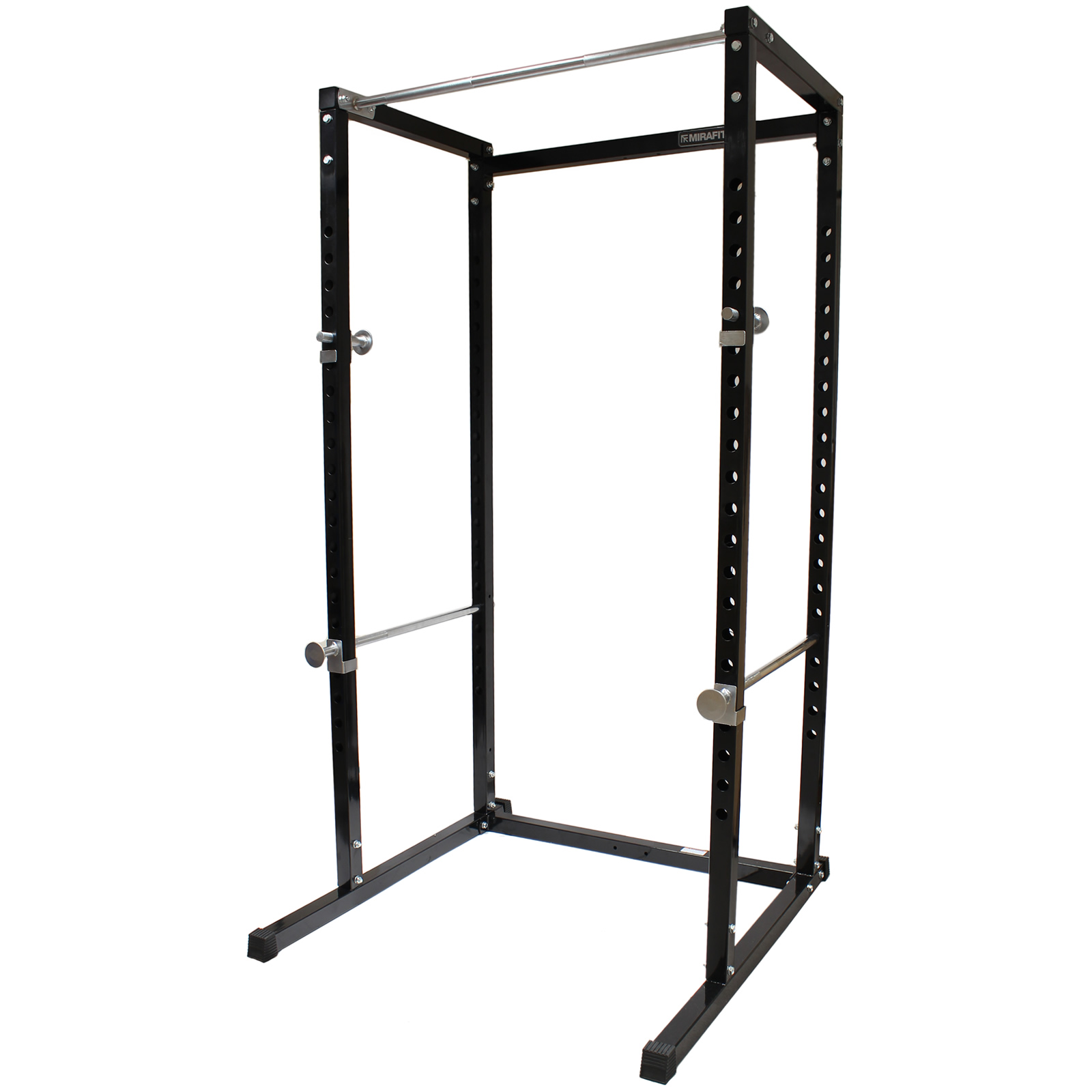 mirafit power cage squat rack pull up bar multi gym weight lifting stand black 5051990706347. Black Bedroom Furniture Sets. Home Design Ideas