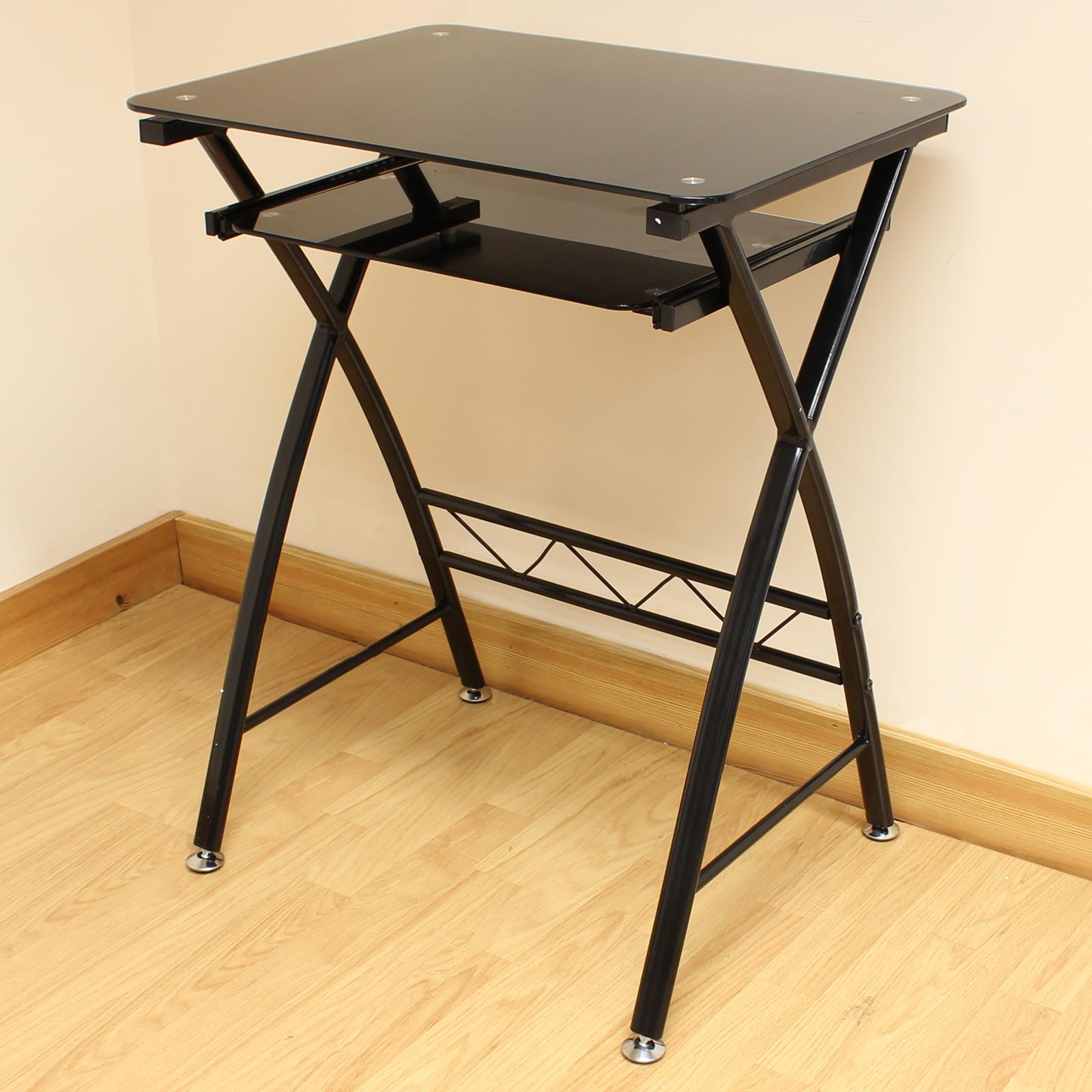 Sentinel Hartleys Home Office Black Glass Computer Pc Desk Workstation Keyboard Shelf