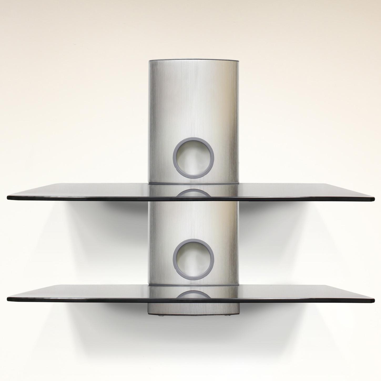 Hartleys Double Floating Silver Black Glass Bracket For