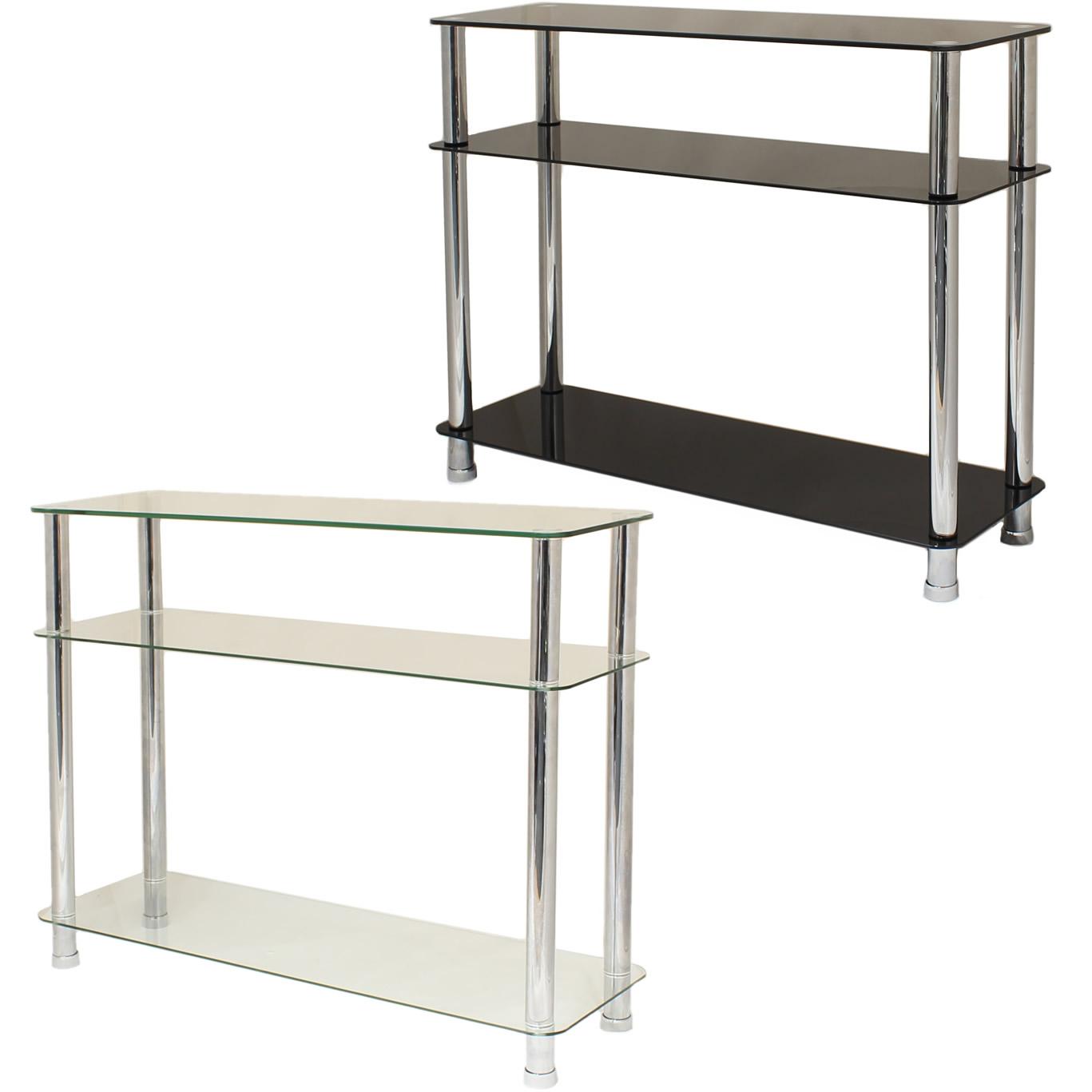 Sentinel GLASS 3 TIER SIDE/CONSOLE TABLE SHELF UNIT BEDROOM/LOUNGE/HALLWAY  STORAGE/