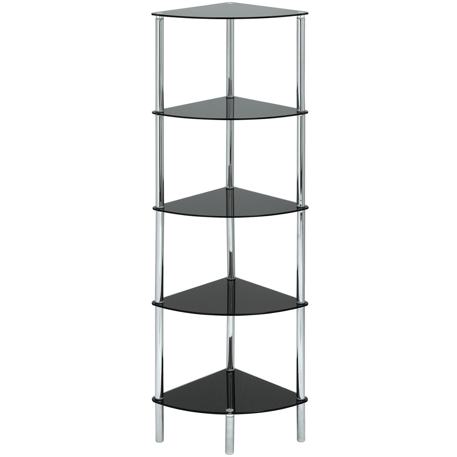 glass corner shelf unit display bathroom hall end lamp coffee table home storage ebay. Black Bedroom Furniture Sets. Home Design Ideas