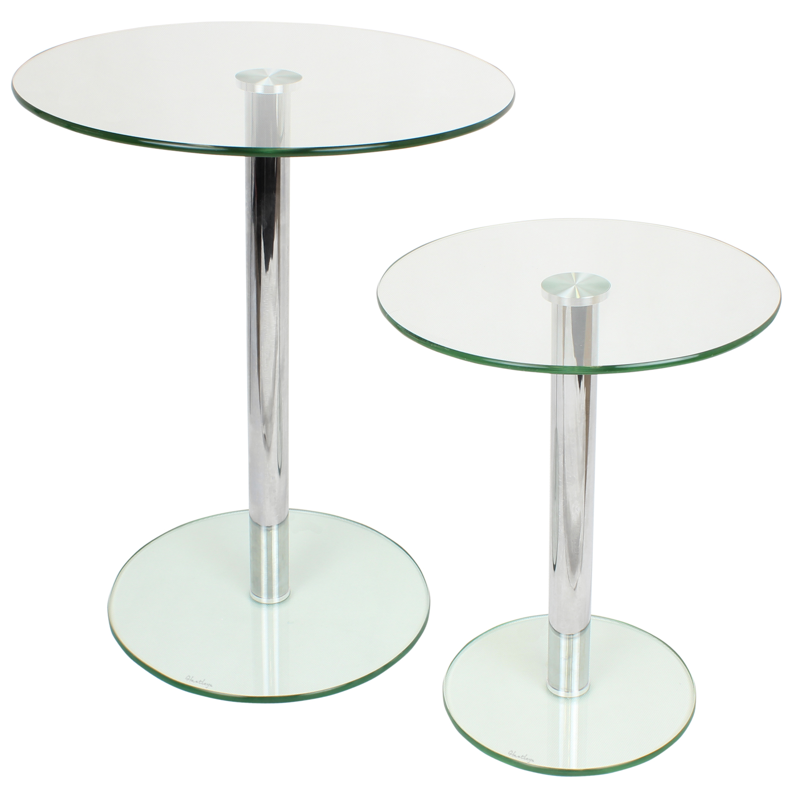 Set Of 2 Round Glass Tables Homeloungeliving Room Sideendlamp