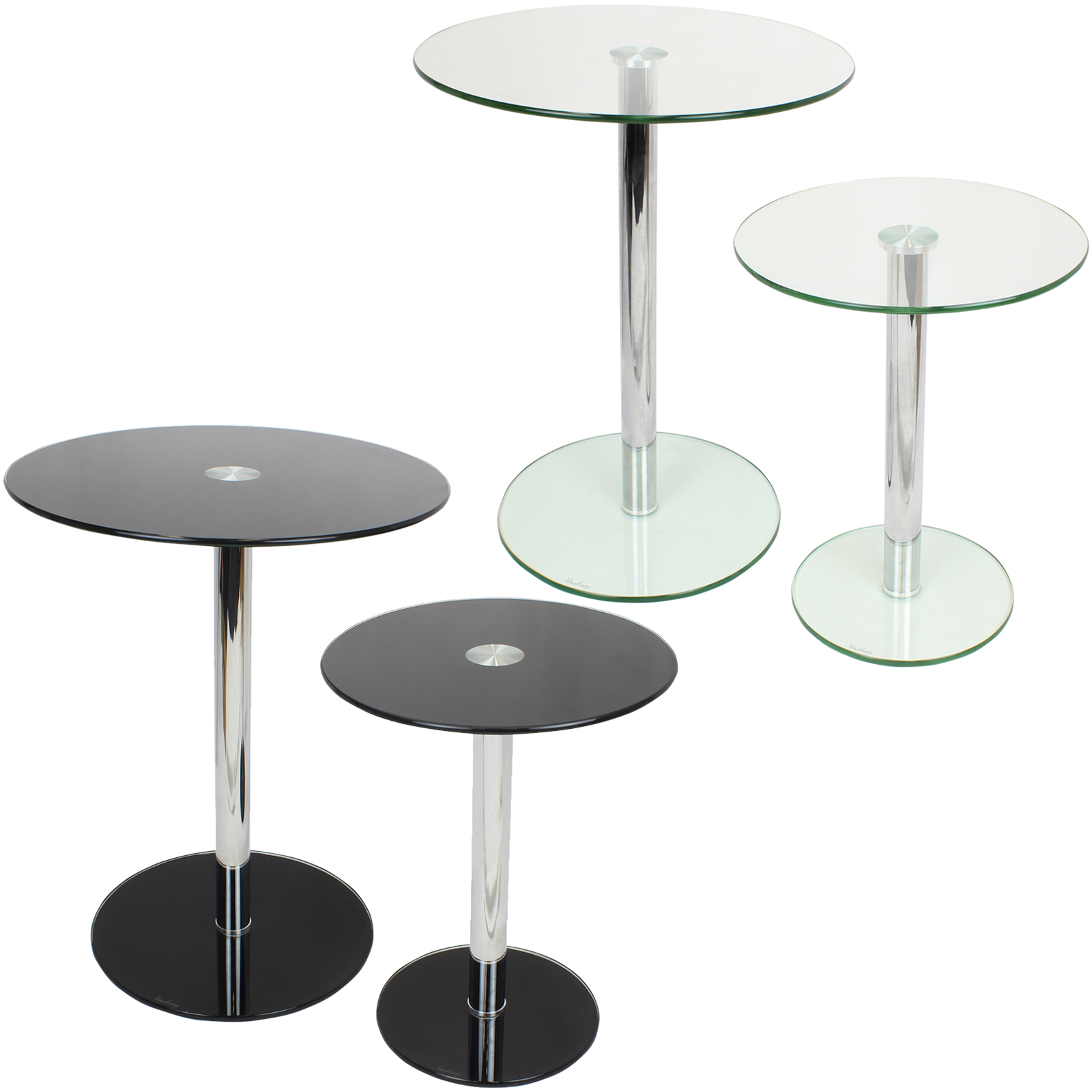 End Table Lamps For Living Room Home Combo Lamp Tables: SET OF 2 ROUND GLASS TABLES HOME/LOUNGE/LIVING ROOM SIDE