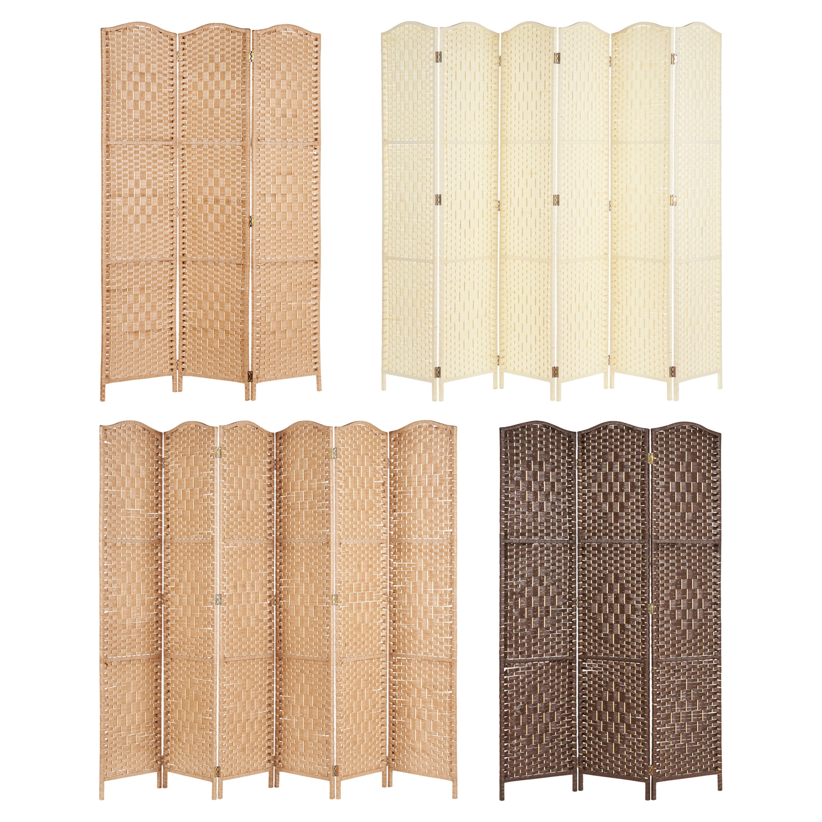 Solid Weave Wicker Folding Room Divider Hand Made Separator//Privacy Screen//Panel