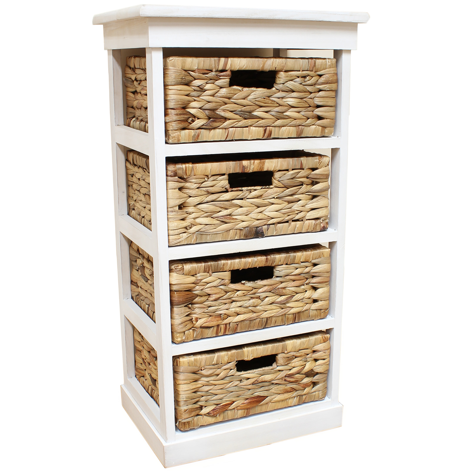 Sentinel White Seagr Basket Drawer Chest Storage Cabinet Unit Home Lounge Bathroom