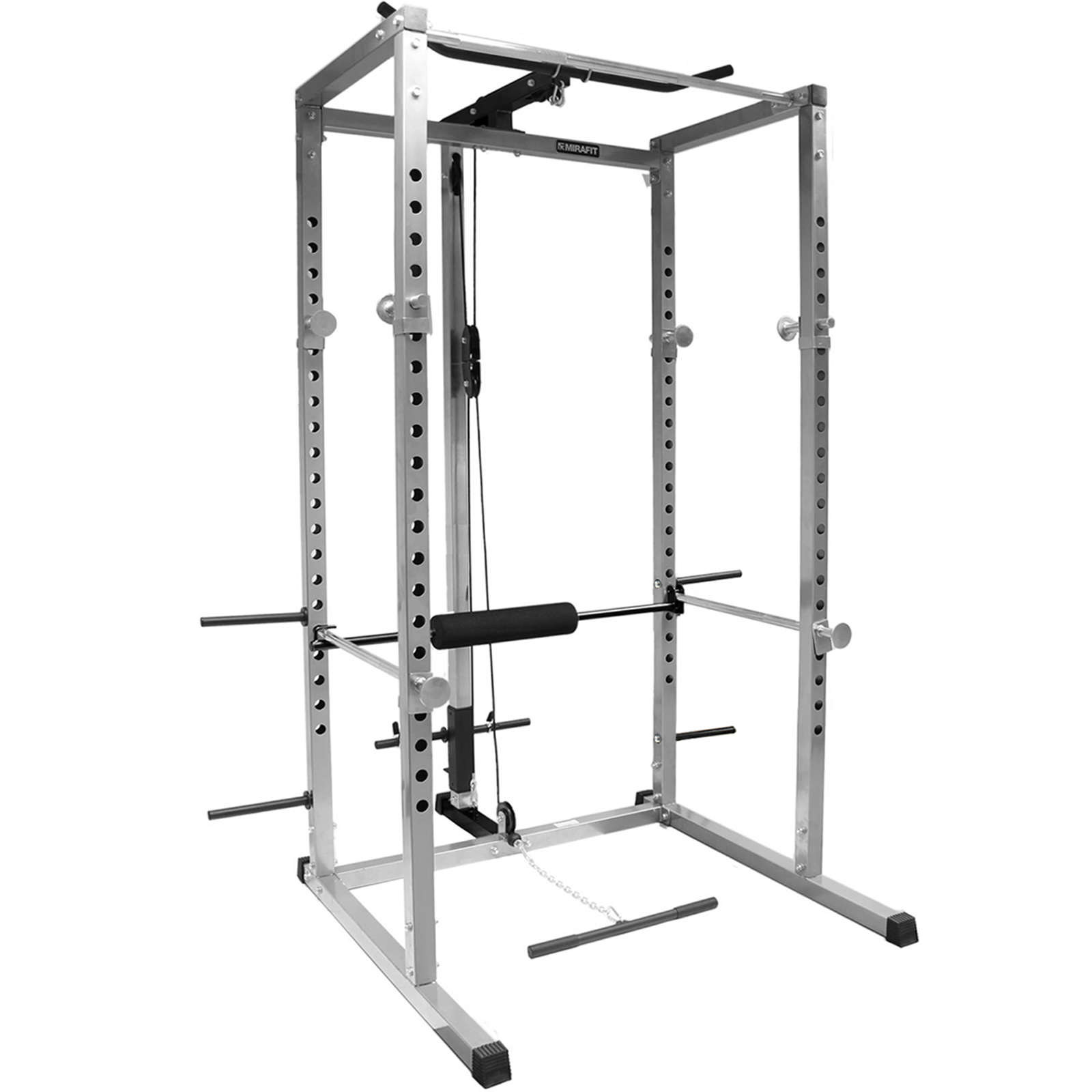 mirafit power rack squat cage  u0026 cable lat pull up  down  row