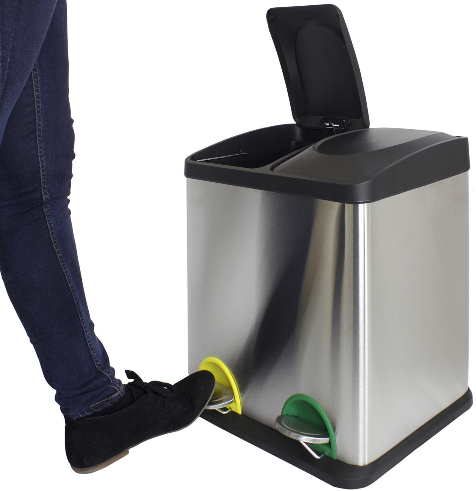 Sentinel 30 Litre Double Recycling Pedal Bin Twin Compartment Kitchen Rubbish Waste 30l