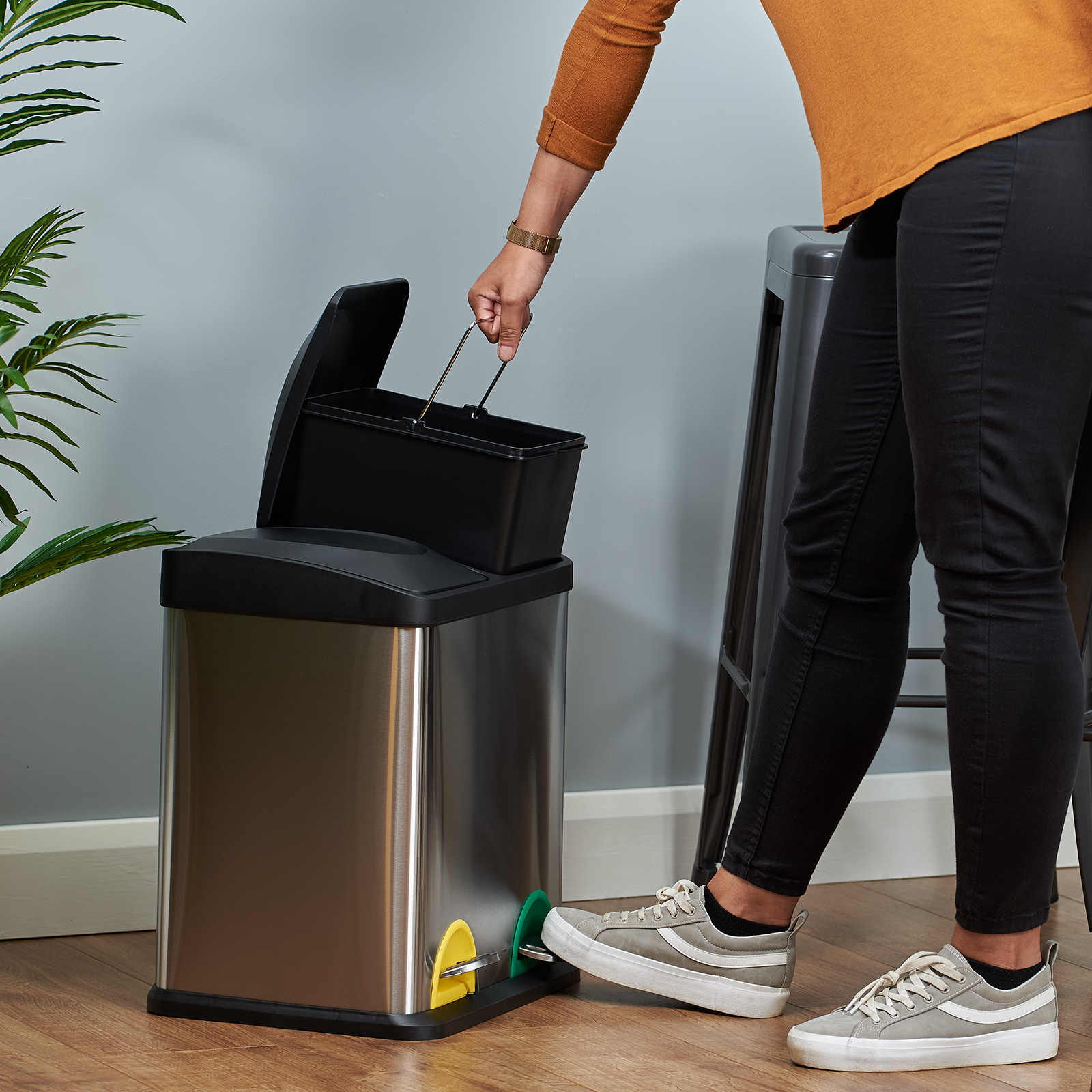 30 LITRE DOUBLE RECYCLING PEDAL BIN TWIN COMPARTMENT KITCHEN RUBBISH ...