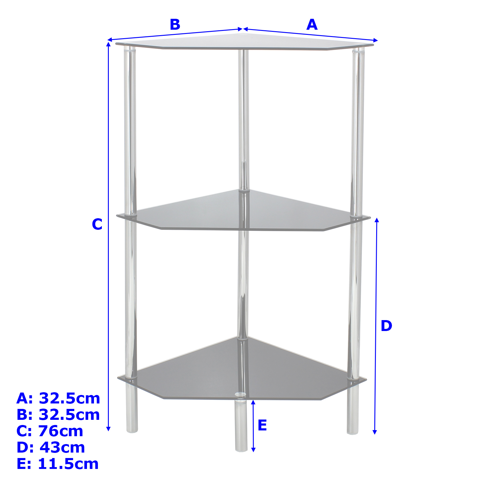 Sentinel Hartleys 3 Tier Clear Glass Angled Corner Side/End/Lamp Table Shelf /Display