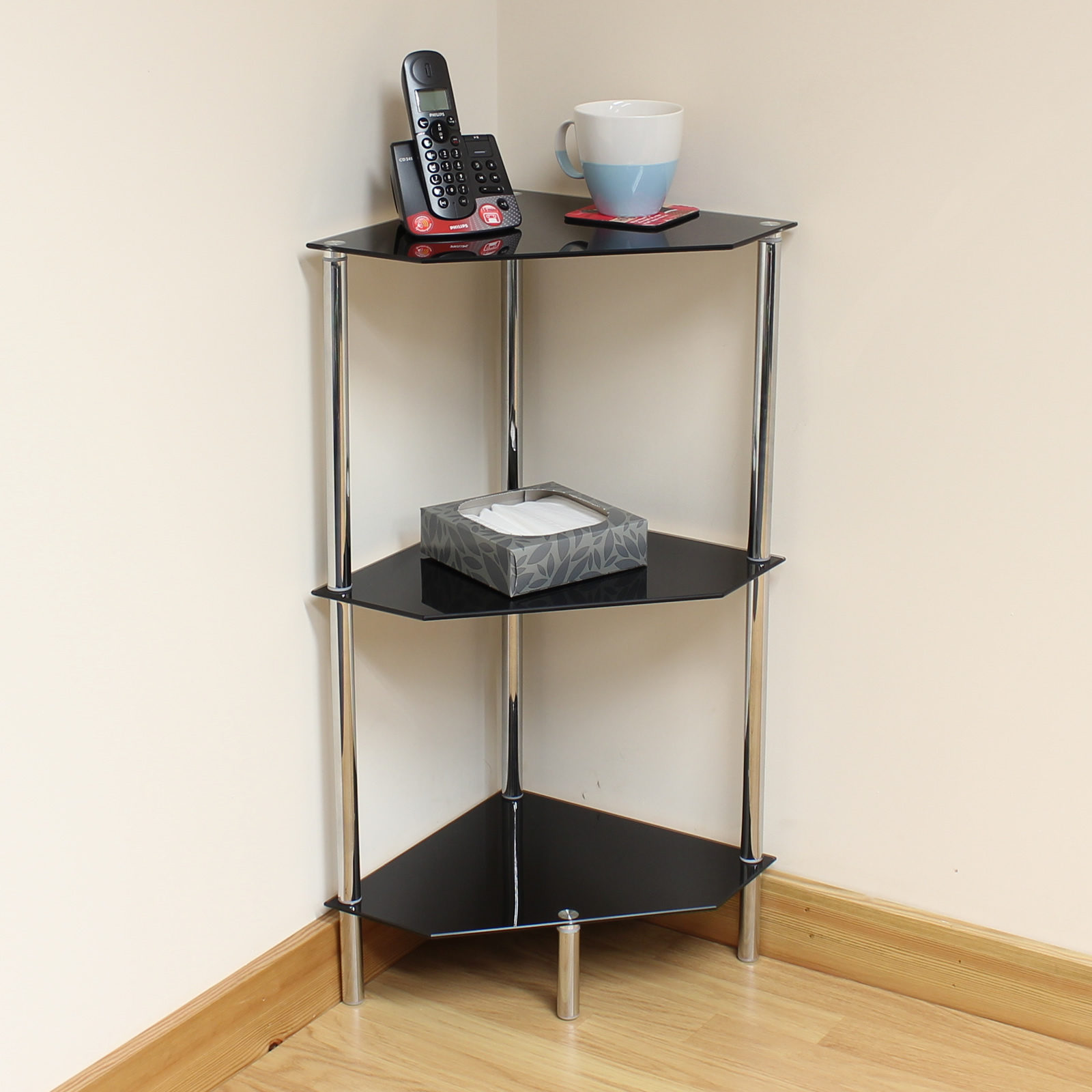 Sentinel Hartleys 3 Tier Black Glass Angled Corner Side/End/Lamp Table Shelf /Display