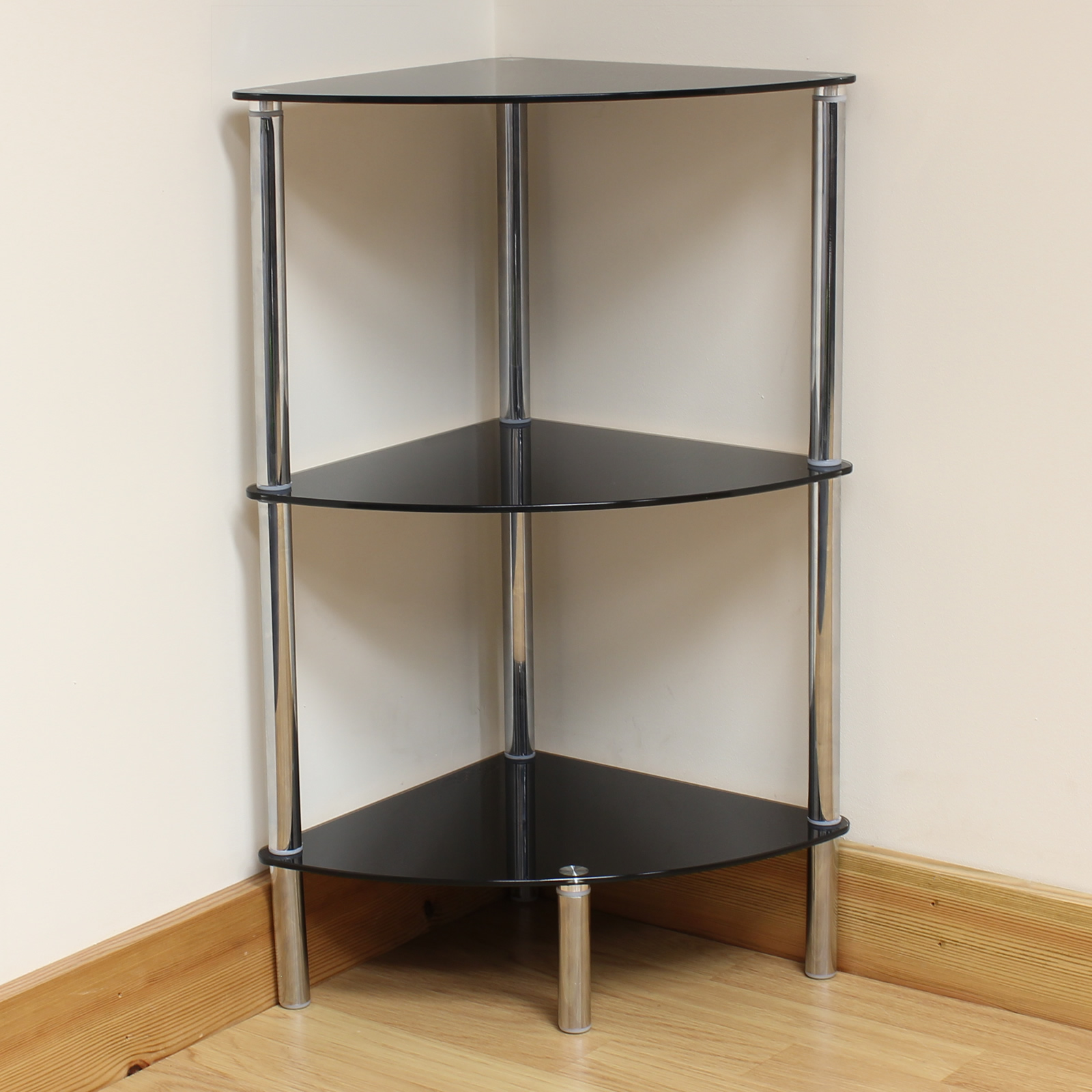 Sentinel Hartleys 3 Tier Black Glass Corner Side/End Table Shelf/Display  Unit Lounge/