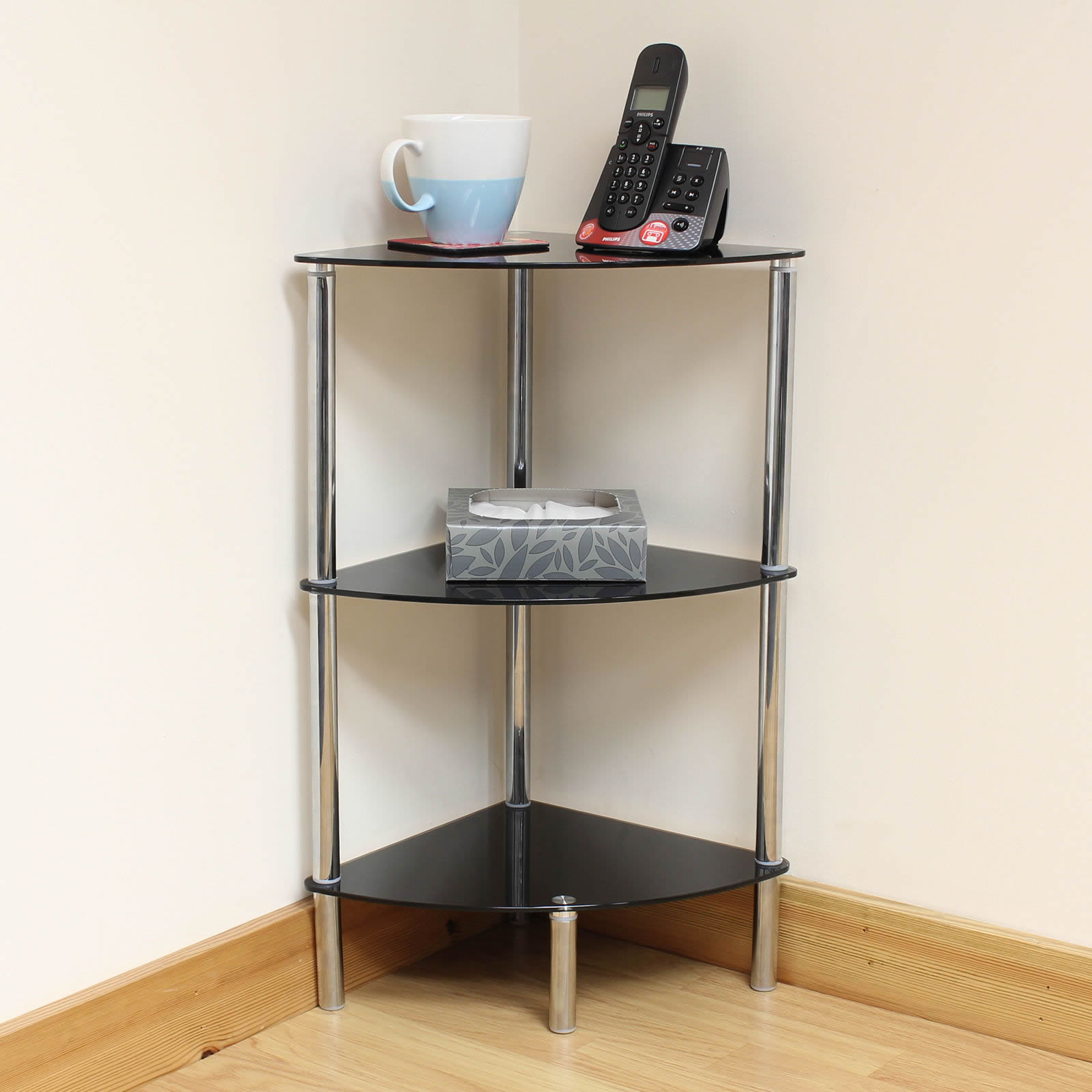 Corner Exhibition Stands Tallahassee : Hartleys tier black glass corner side end table shelf