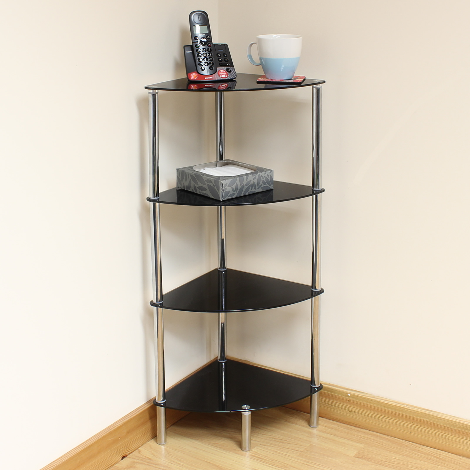 Hartleys 4 tier black glass corner side end table shelf - Glass corner shelf for living room ...