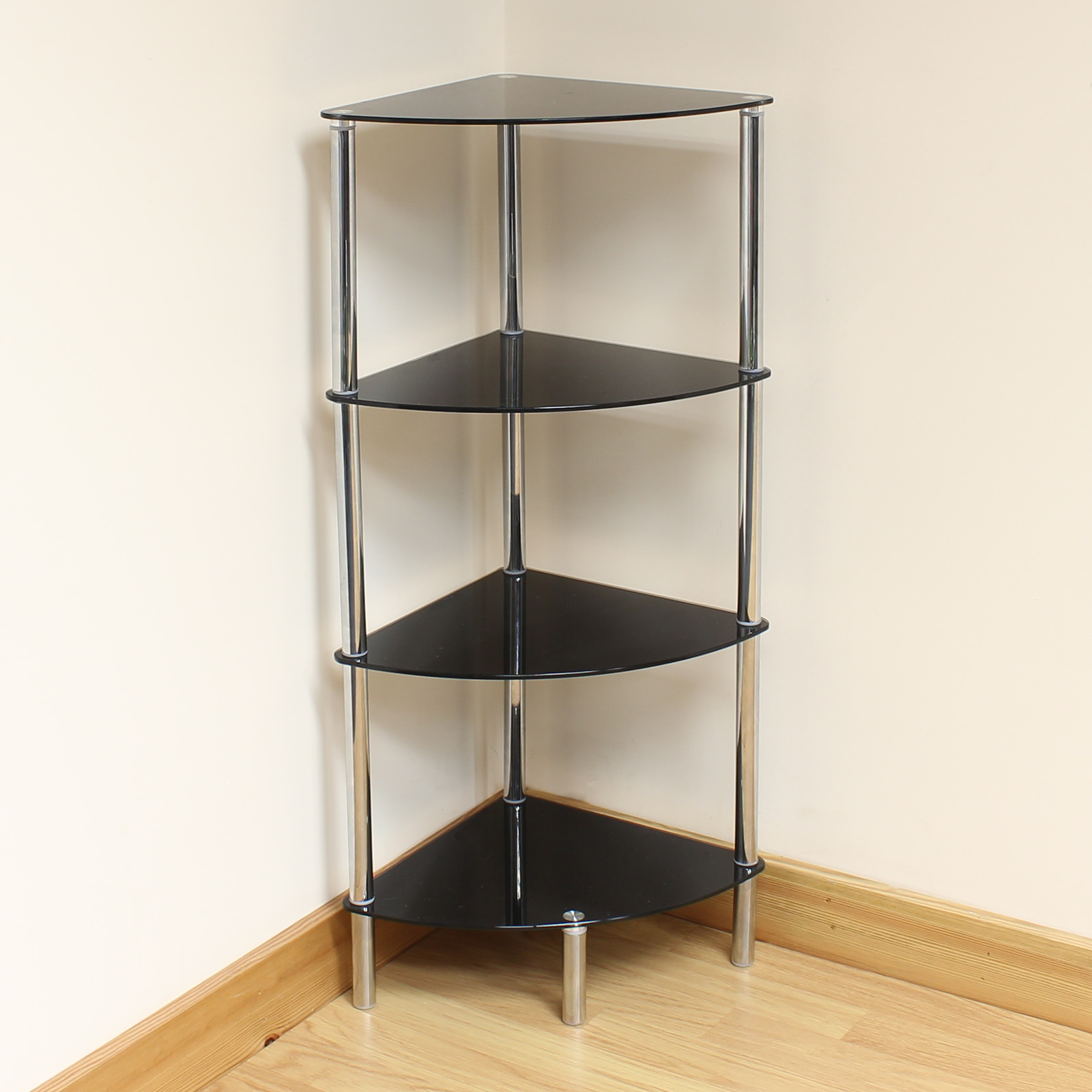 hartleys 4 tier black glass corner side end table shelf display unit lounge hall ebay. Black Bedroom Furniture Sets. Home Design Ideas