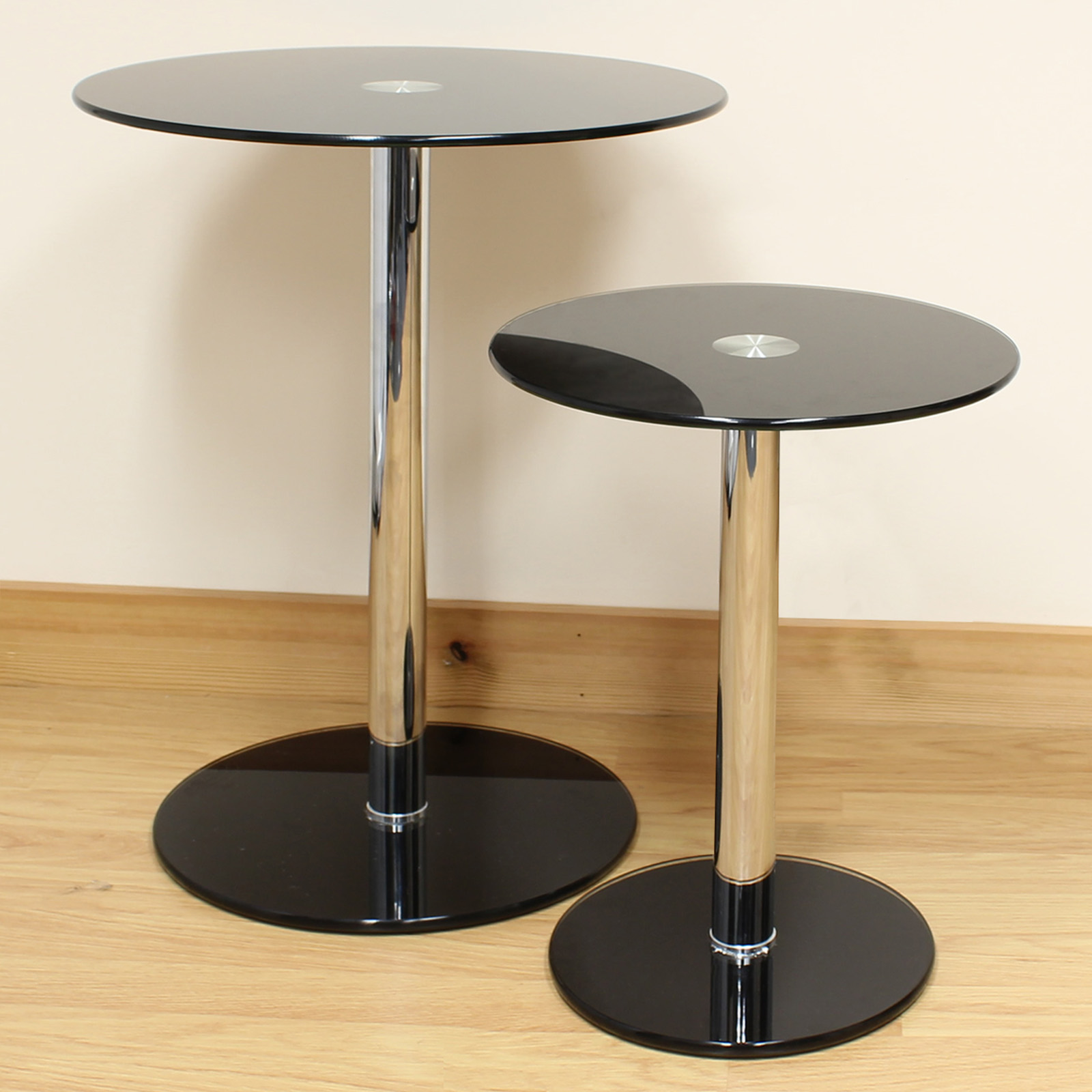 Details About Hartleys Set Of 2 Small/Large Round Black Glass Side/End/Lamp  Living Room Tables