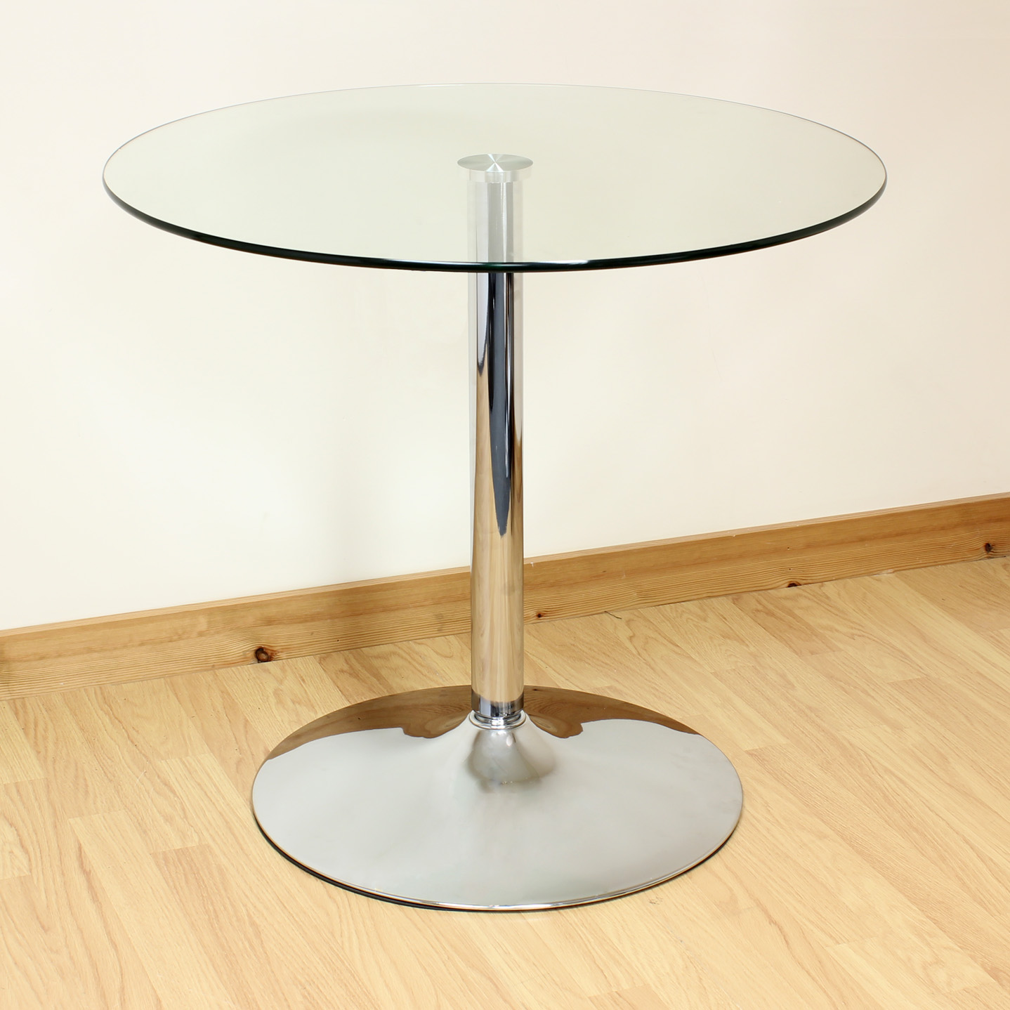Sentinel Hartleys 80cm Clear Chrome Round Glass Dining Kitchen Table Bistro Cafe Style