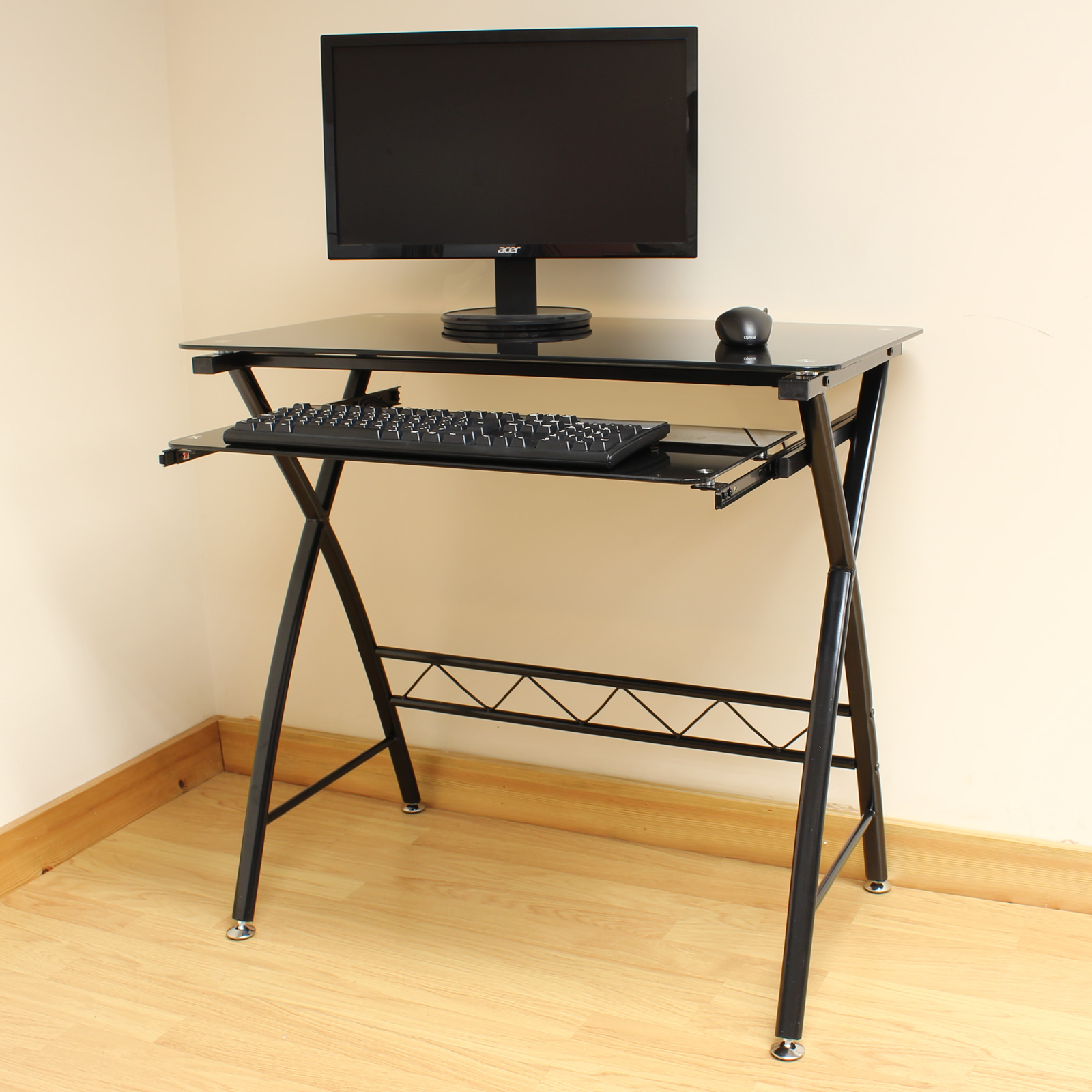 office desk workstation. Sentinel Hartleys 80cm Home Office Glass Computer/PC Desk Workstation Table Keyboard Tray E