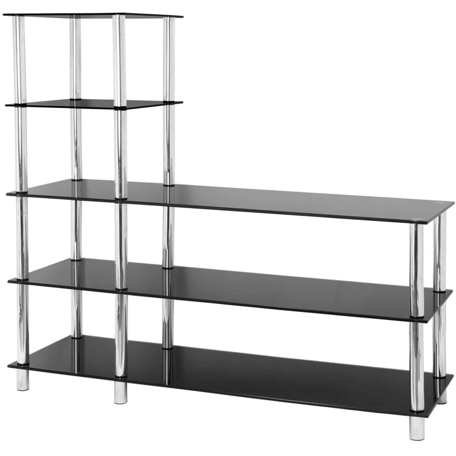 Sentinel Hartleys 5 Tier Black Gl Shelf Tv Unit Console Table Office Bedroom