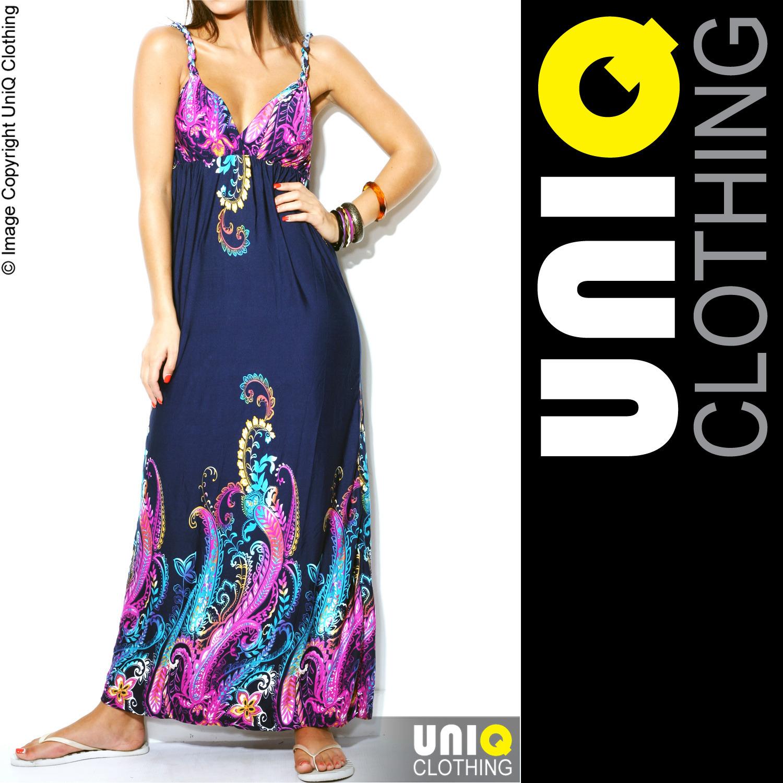UNIQ UK Long Womens MAXI Summer DRESS Boho/Hippie/Evening/Cocktail