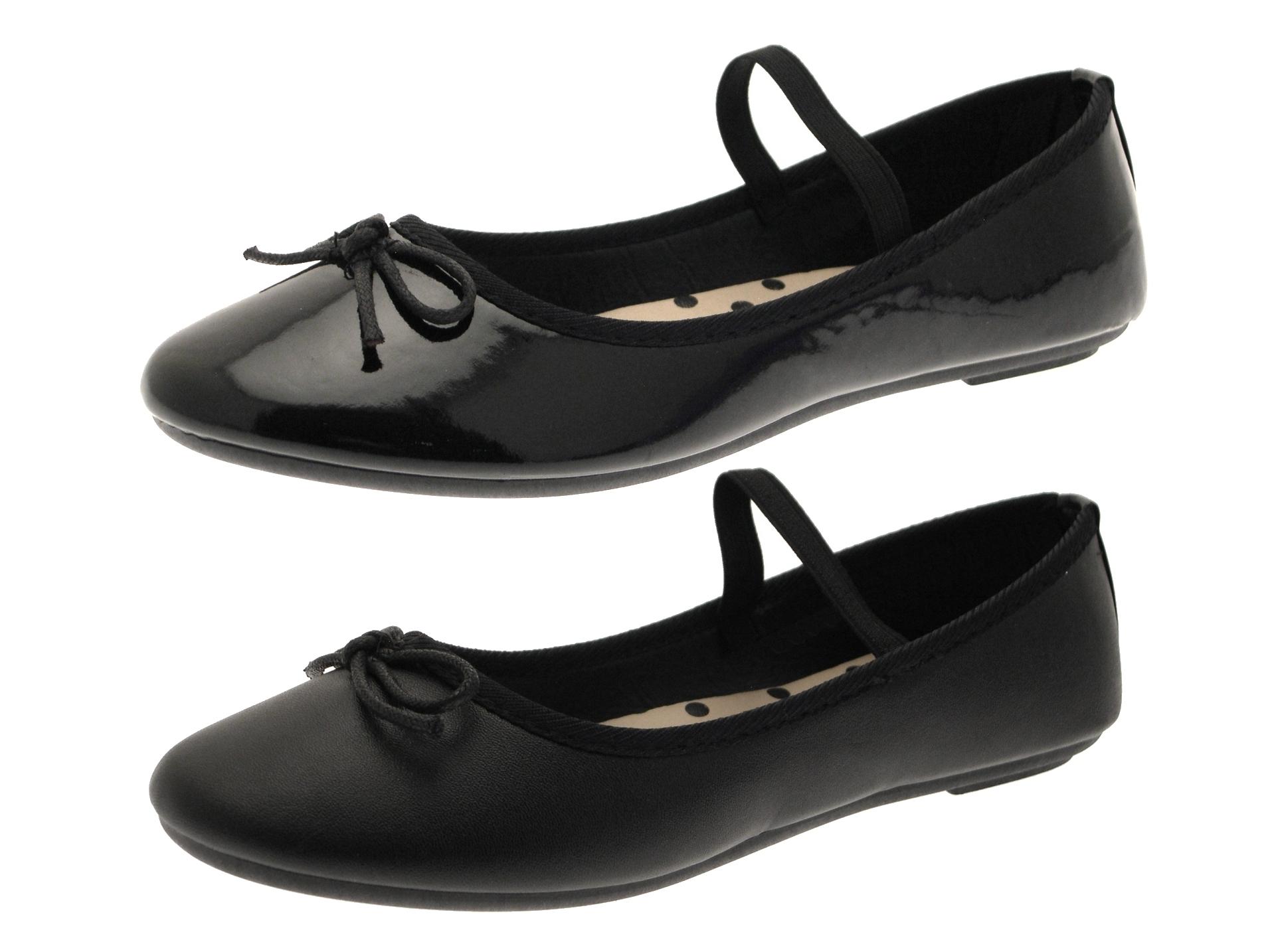 c1723177e35 Womens Girls Flat Black Ballet Pumps Slip On Ballerinas Dolly Work ...