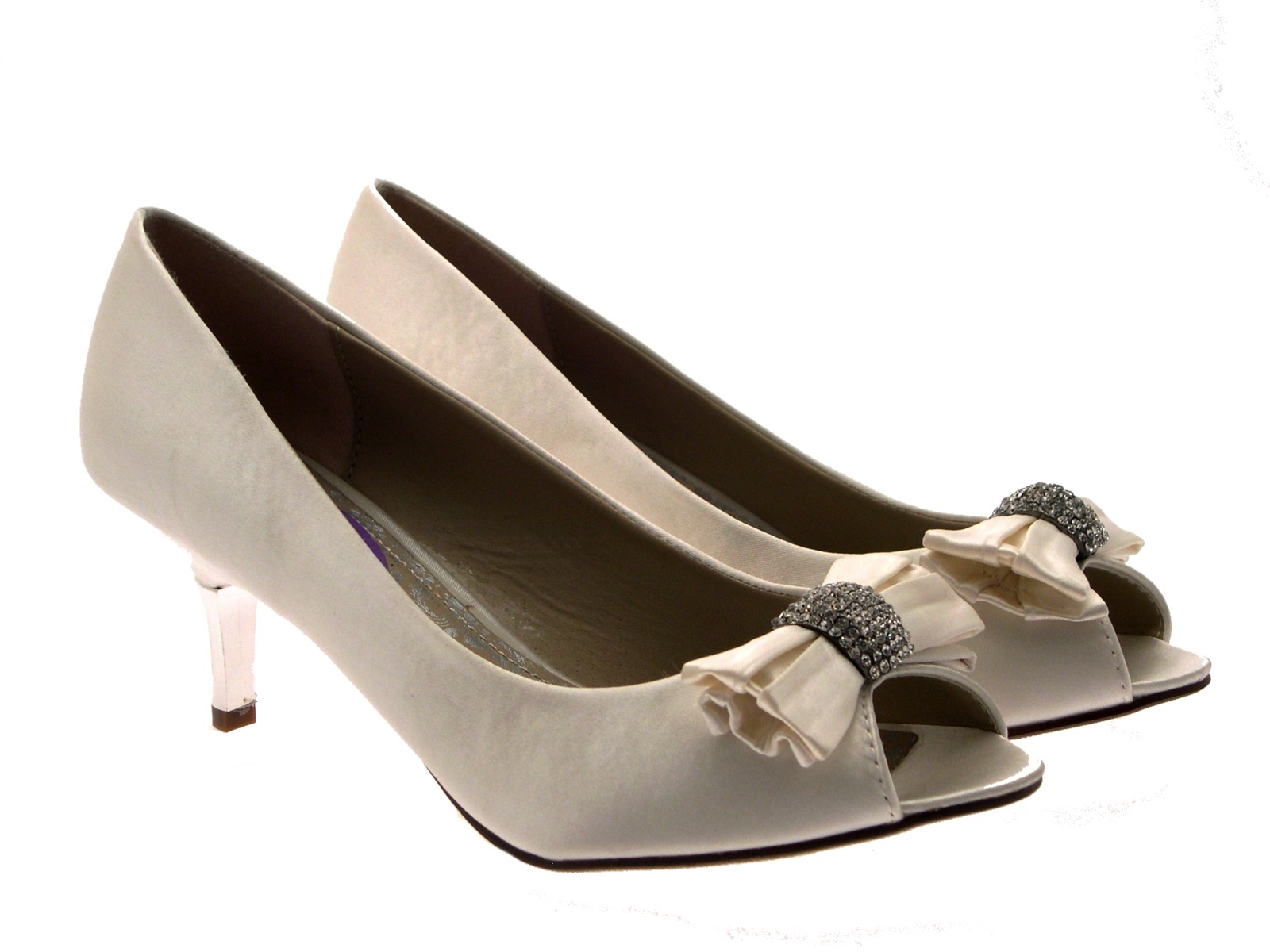 wedding shoes with bows womens low heels satin diamante bow bridal wedding peeptoe 1139