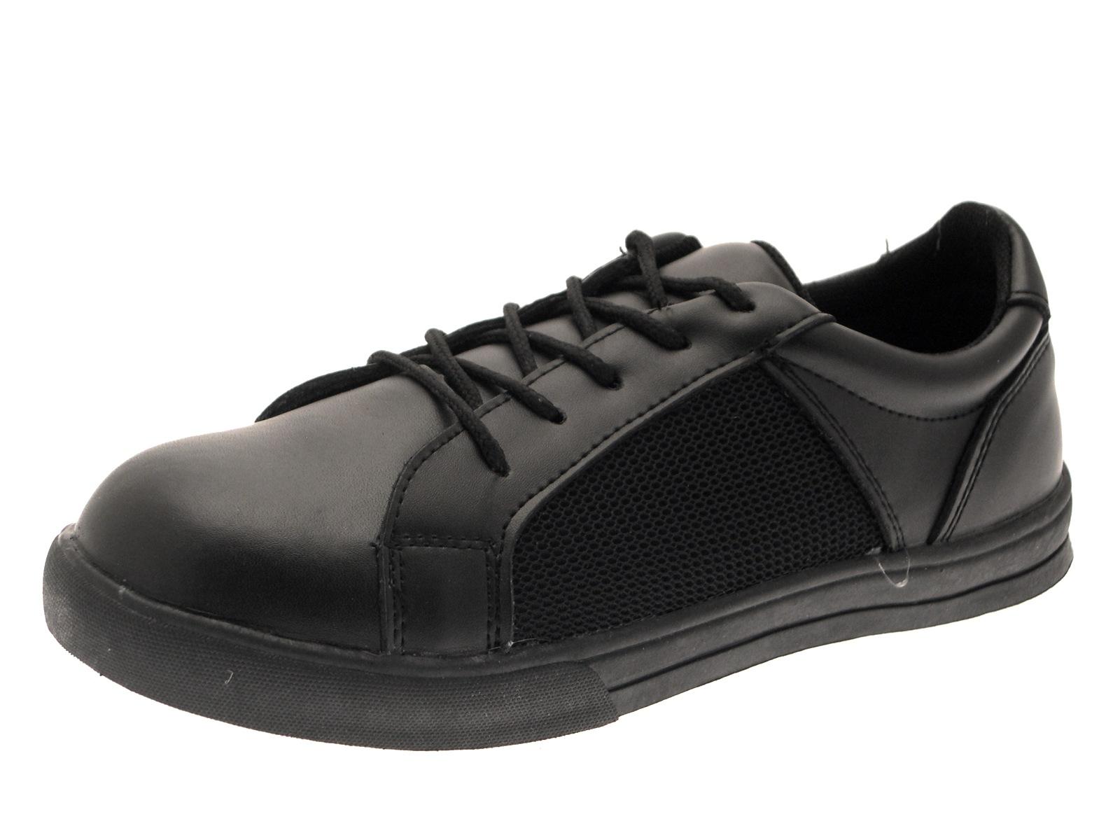 Boys Black Leather School Shoes Flat