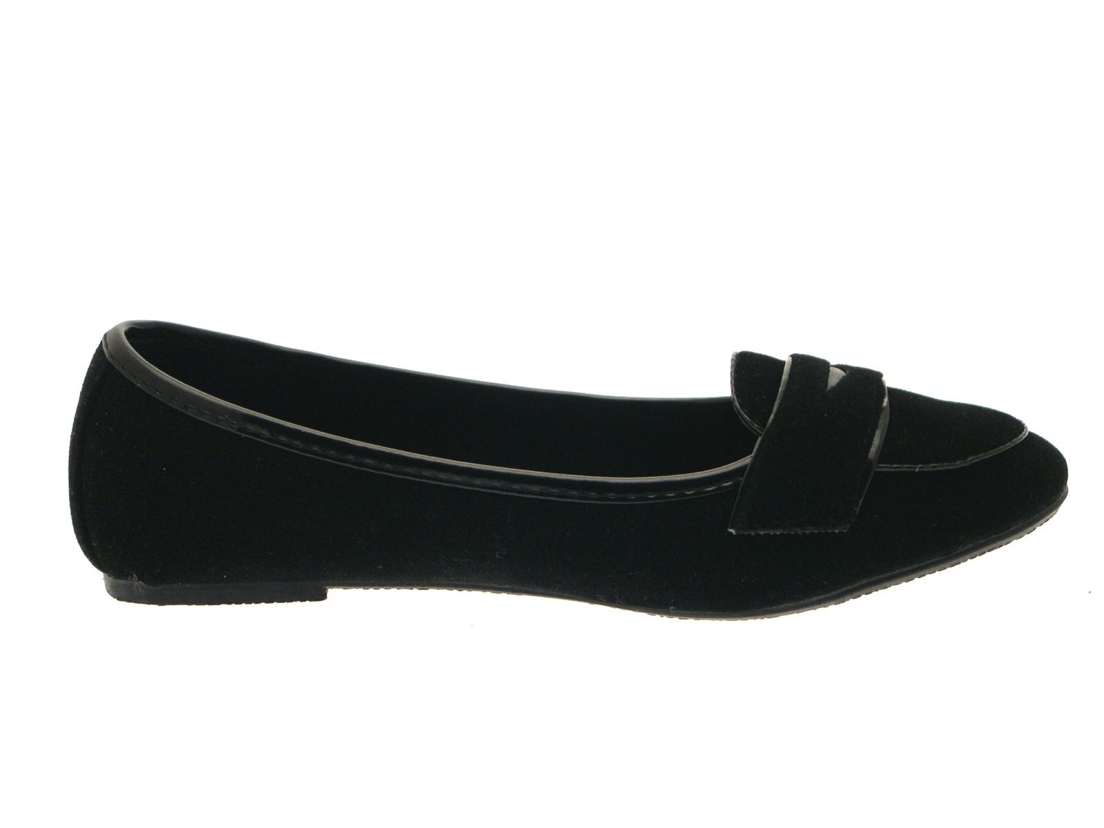 8c5a27c7ae0 Girls Black Slip On Plain Faux Suede Loafer School Shoes Ballerinas ...