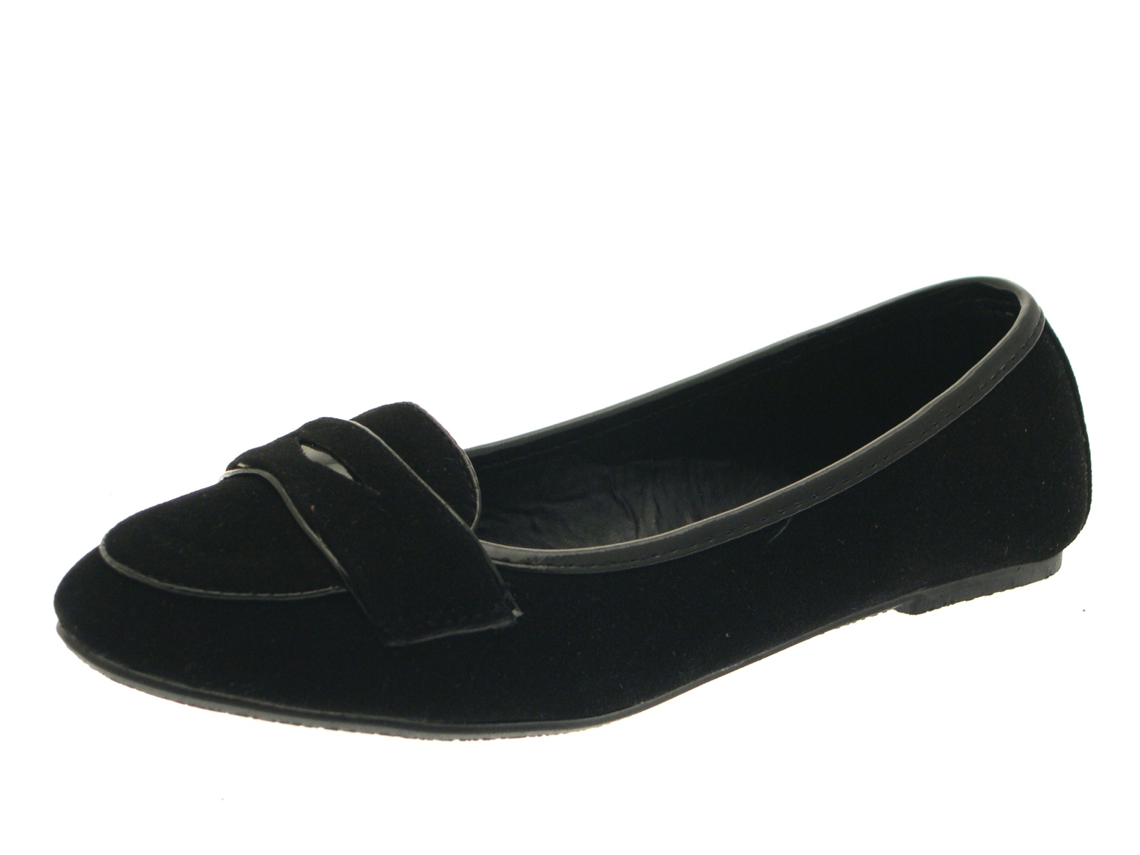 Girls Black Slip On Plain Faux Suede Loafer School Shoes Ballerinas Dolly  Pumps b92016234