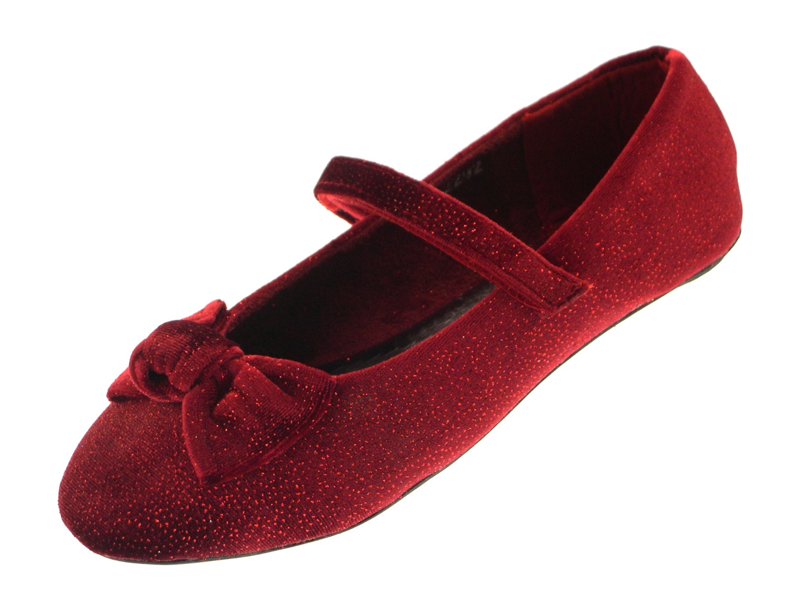 dc0db058f93 Girls Velvet Glitter Party Shoes Mary Janes Flat Ballet Pumps ...