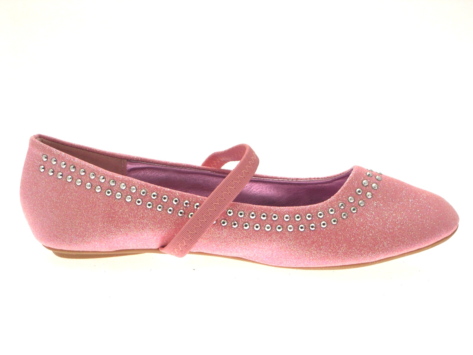Girls Glitter Studded Party Shoes Mary Janes Flat Ballet Pumps Kids