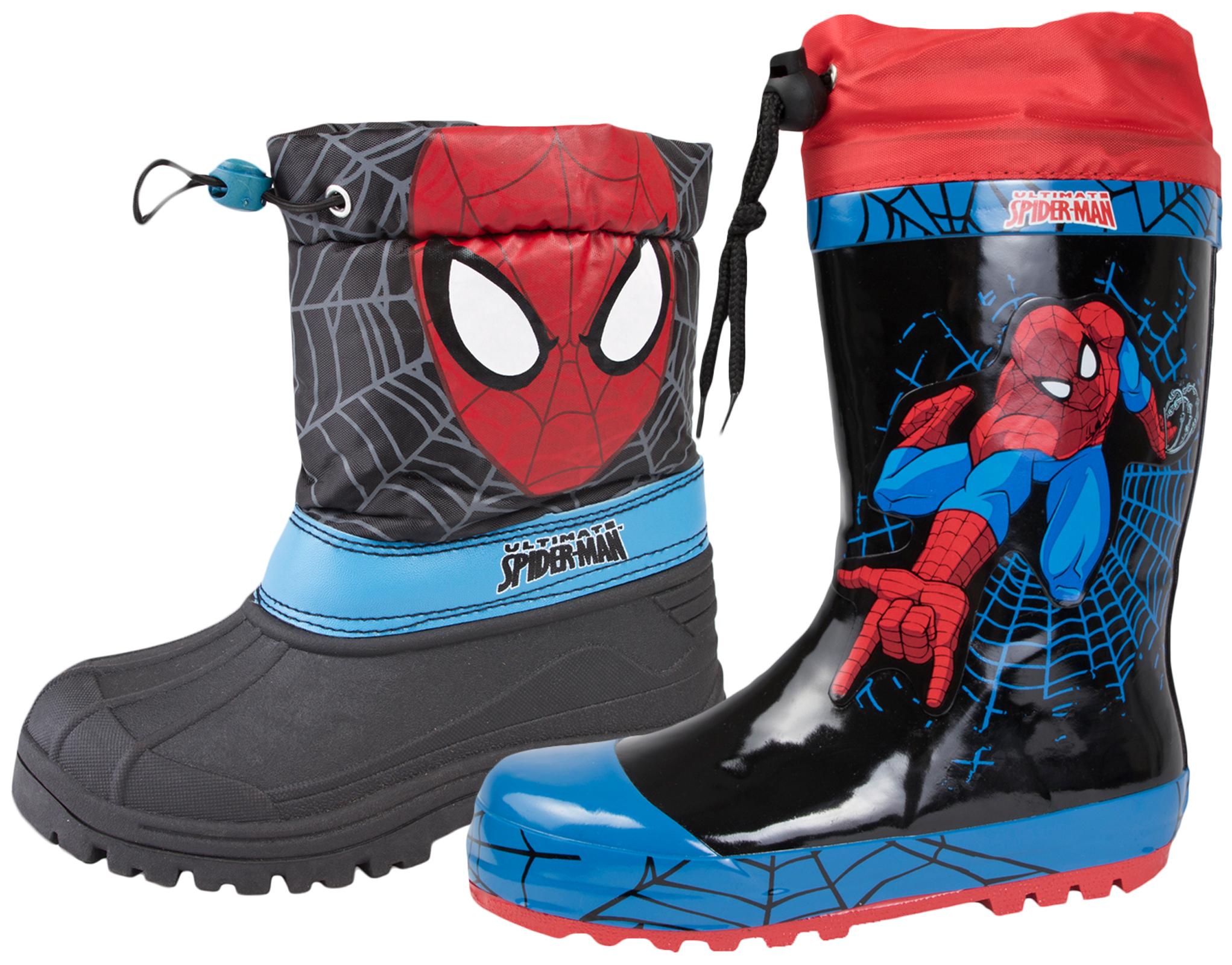 3317d6f86d0 Details about Kids Boys Spiderman Rubber Snow Boots Tie Top Wellies  Wellingtons Shoes Size